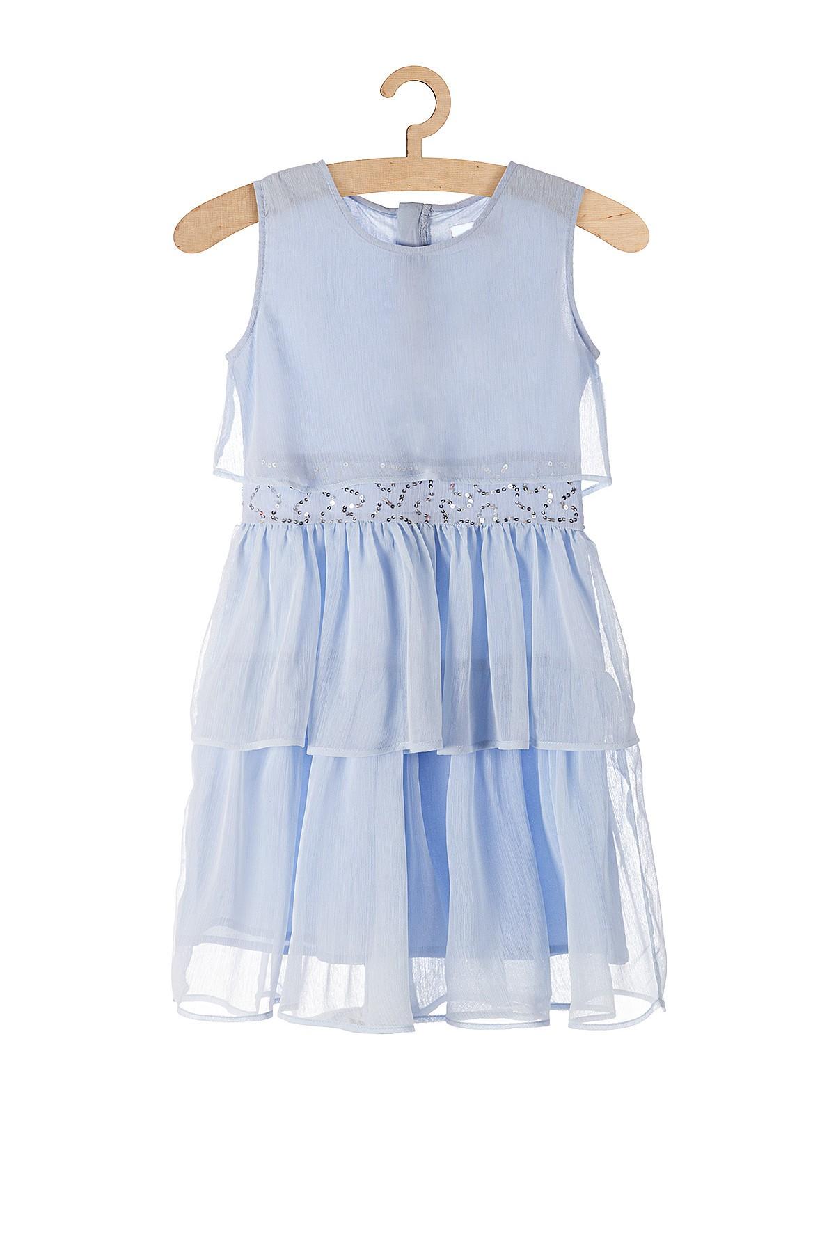 Elegancka sukienka dla dziewczynki- niebieska z ozdobnymi cekinami w pasie