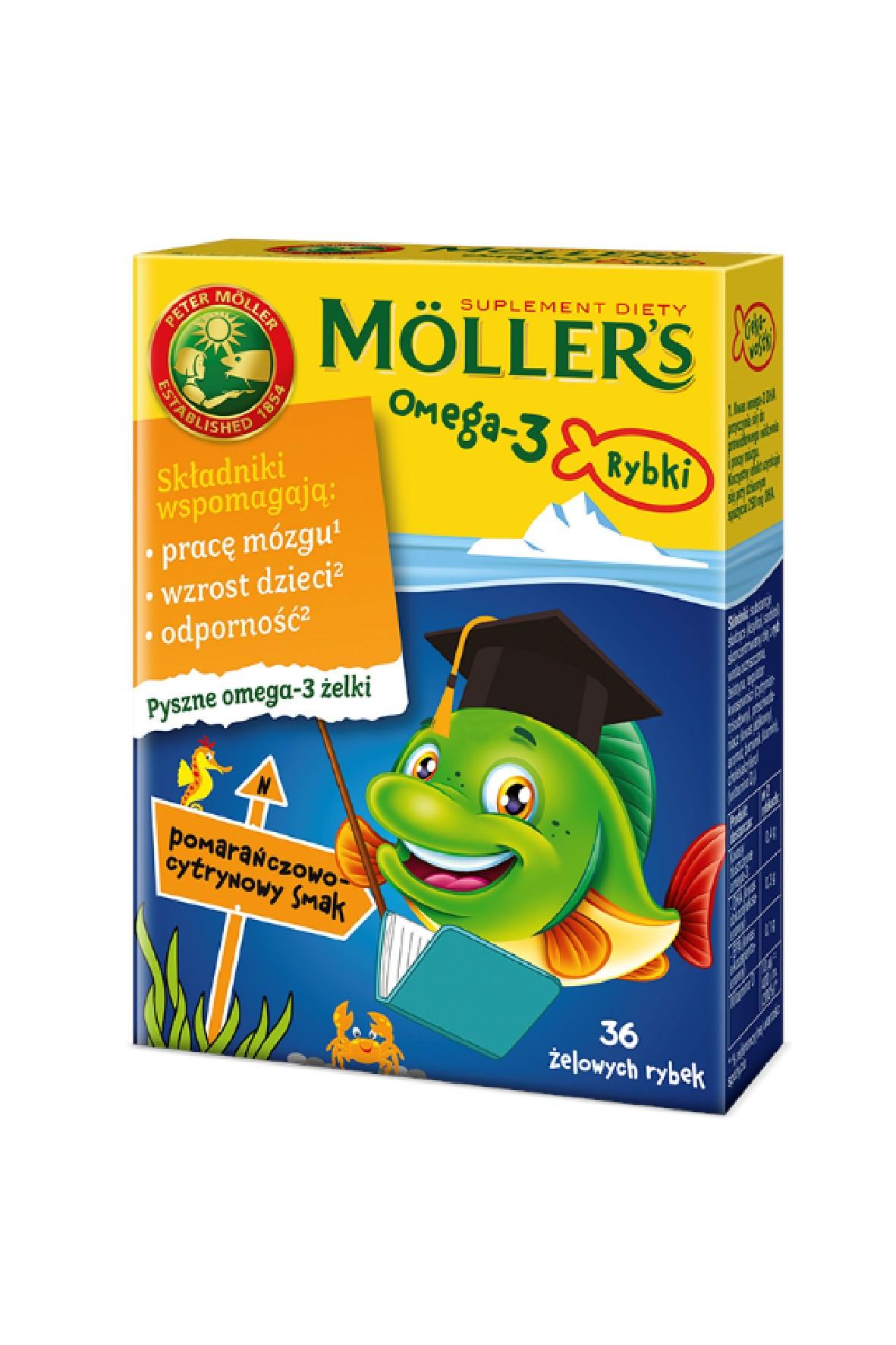 Möller's Omega-3 Rybki żelki pom.-cytr wzmacniające odporność 36szt