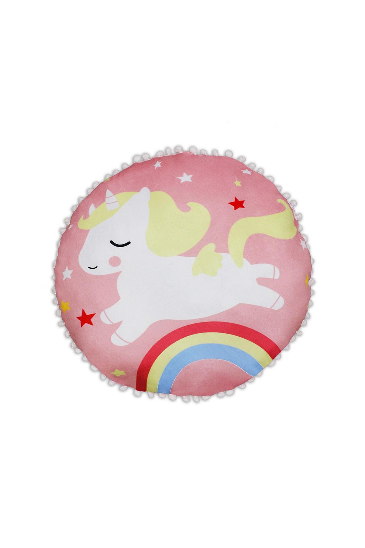 Poduszka ozdobna Unicorn z pomponami
