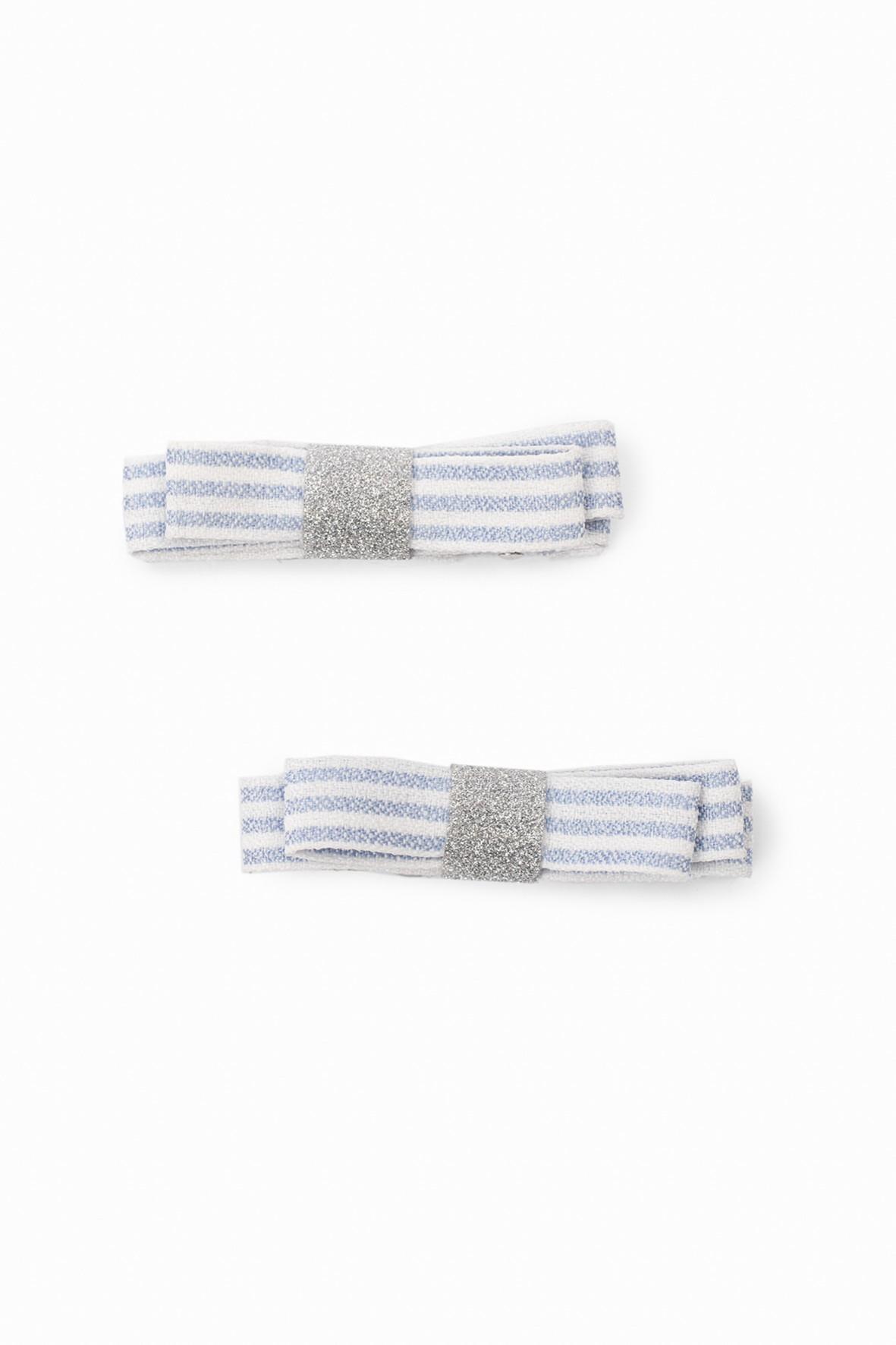Spinki do włosów dla dziewczynki w kształcie kokardek - biało- niebieskie