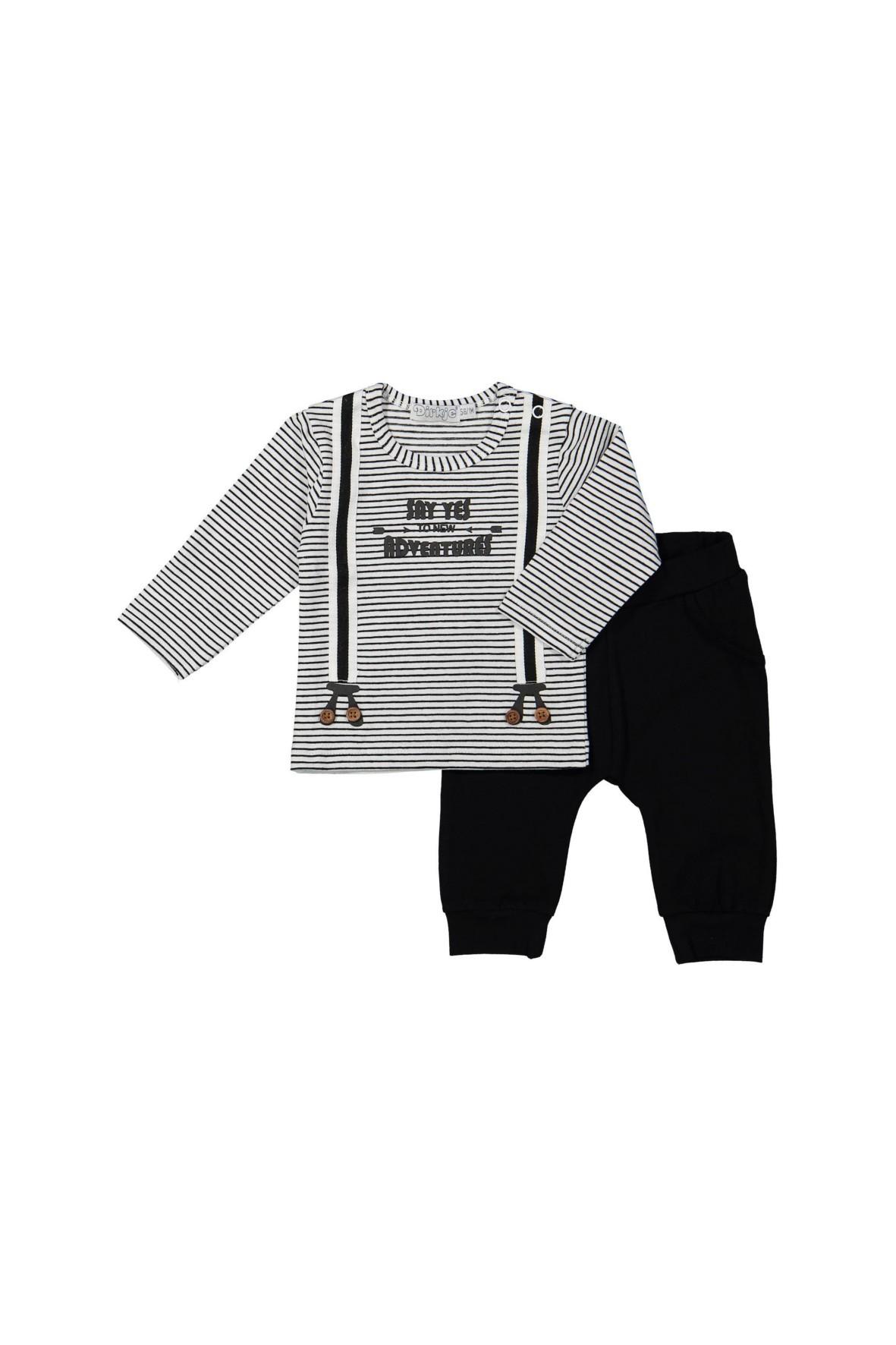 Komplet niemowlęcy bluzka z imitacją szelek i dzianinowe spodnie