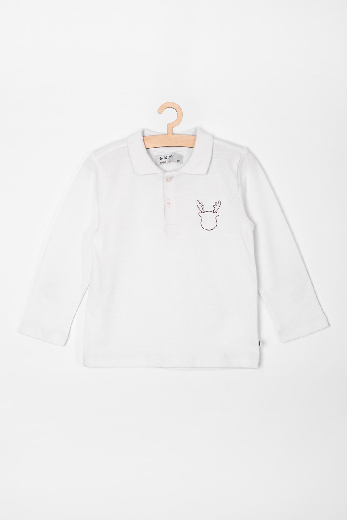 Bluzka niemowlęca z motywem renifera- biała z kołnierzykiem
