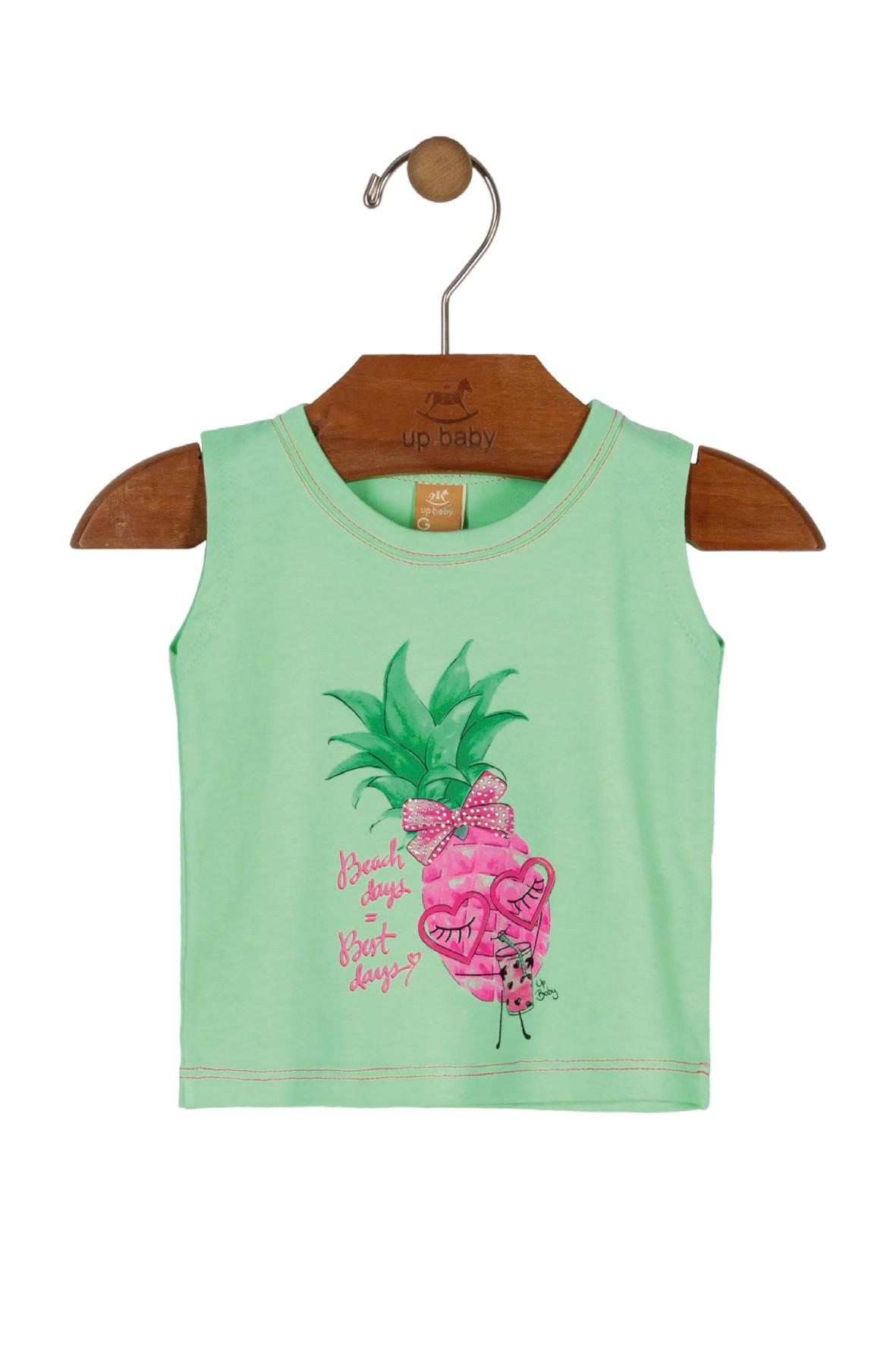 Zielona bluzka dziewczęca na lato z ananasem