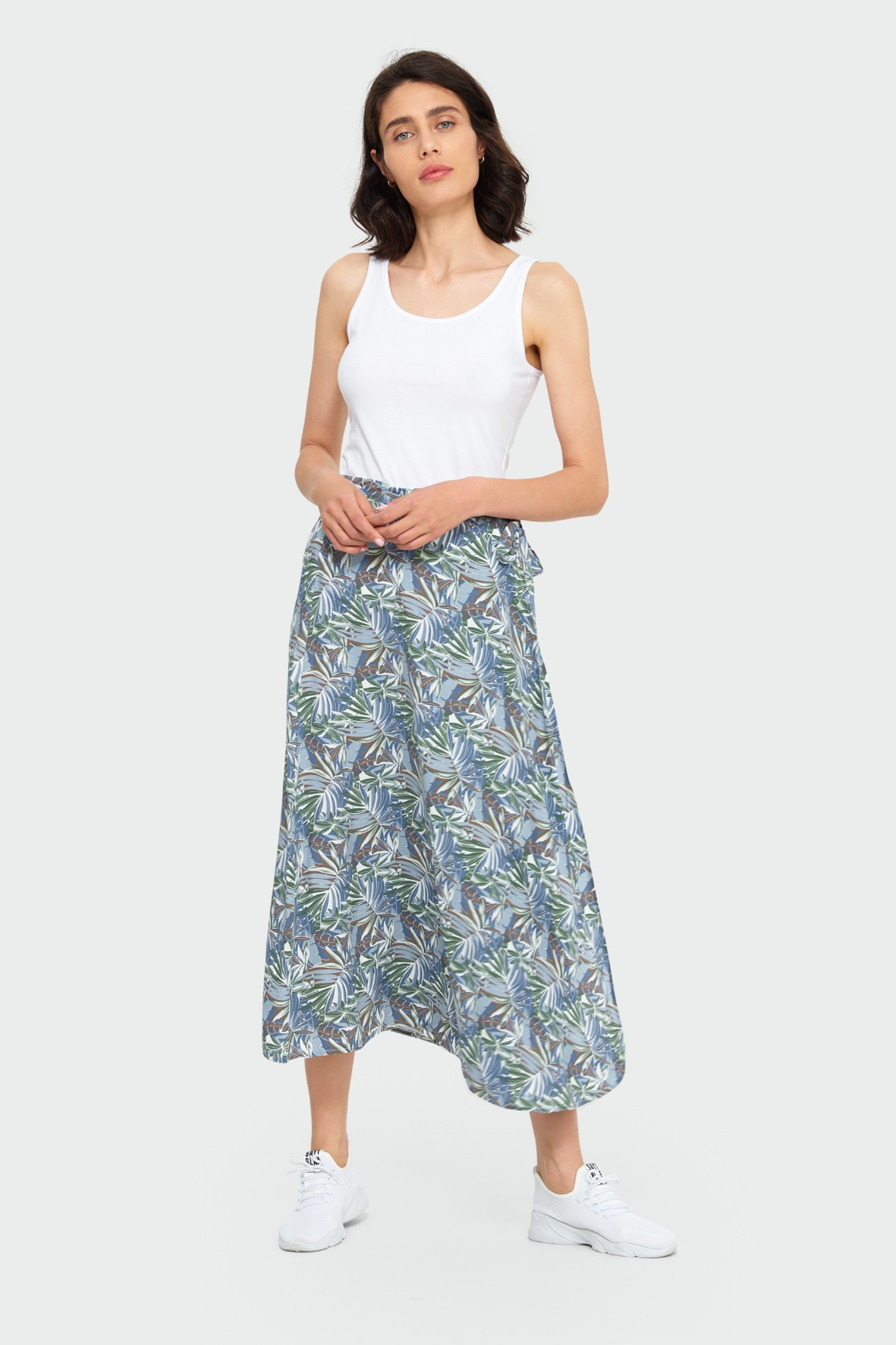 Wiskozowa, kopertowa spódnica z motywem roślinnym