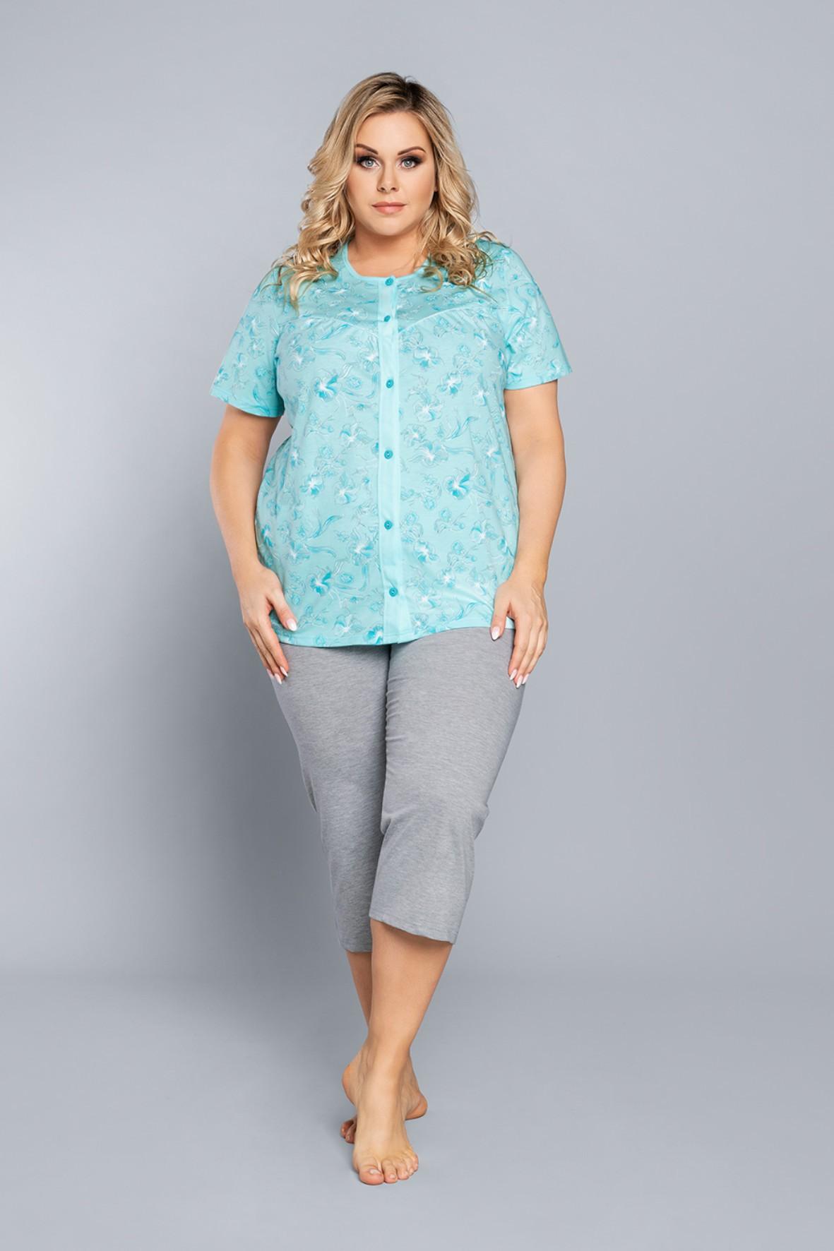 Dwuczęściowa piżama damska - turkusowa bluzka damska we wzorki na krótki rękaw + szare spodnie 3/4 nogawka