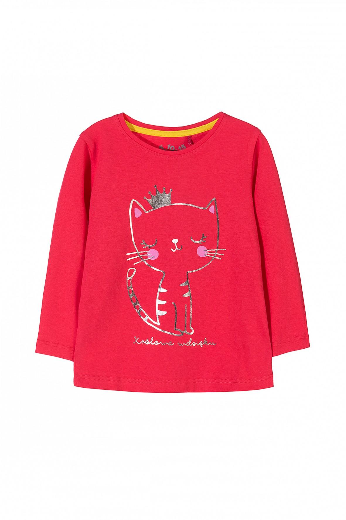 73261a7755 Różowa bluzka z długim rękawem dla dziewczynki ozdobiona nadrukiem ...