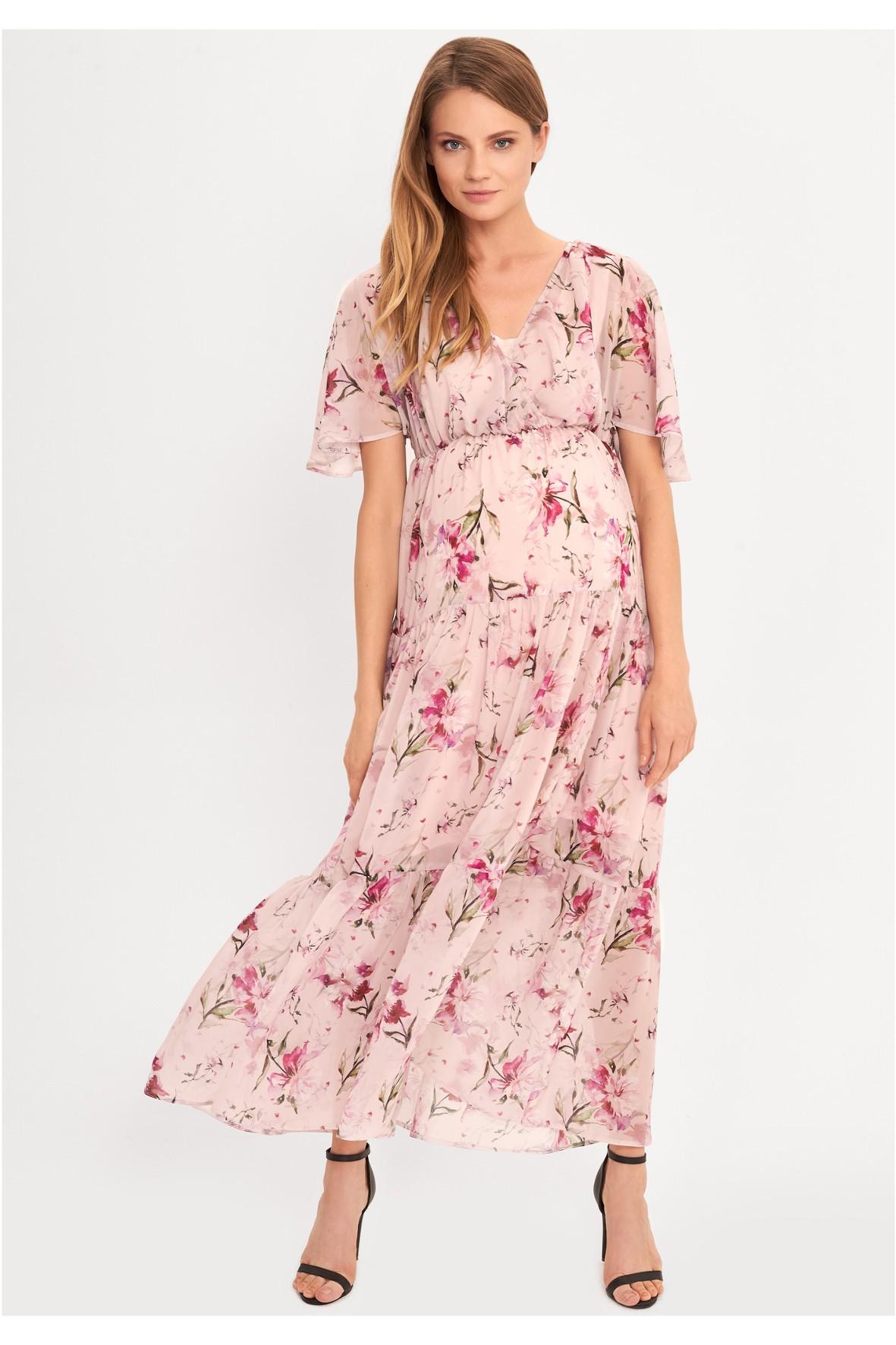 Sukienka ciążowa i dla karmiącej mamy Maxi- różowa w kwiaty