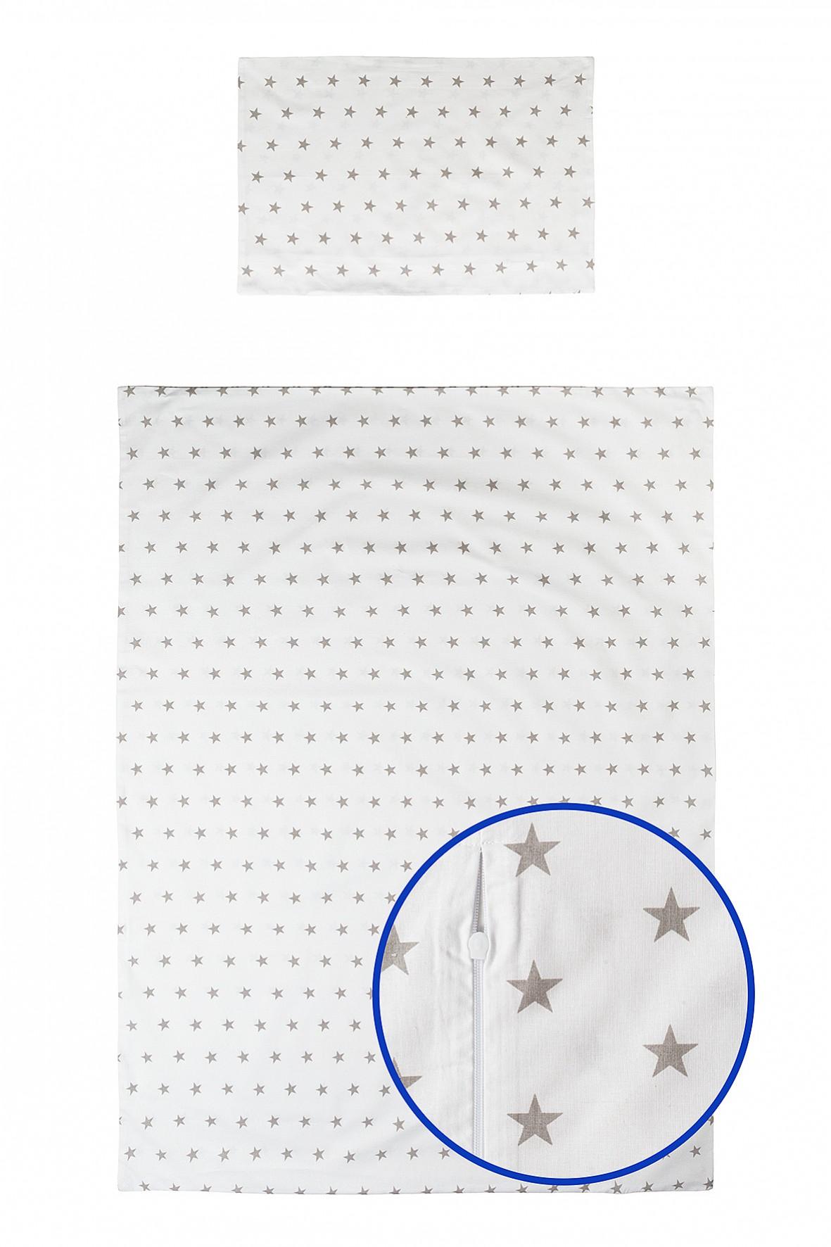 Pościel bawełniana biała w szere gwiazdki 135x100cm