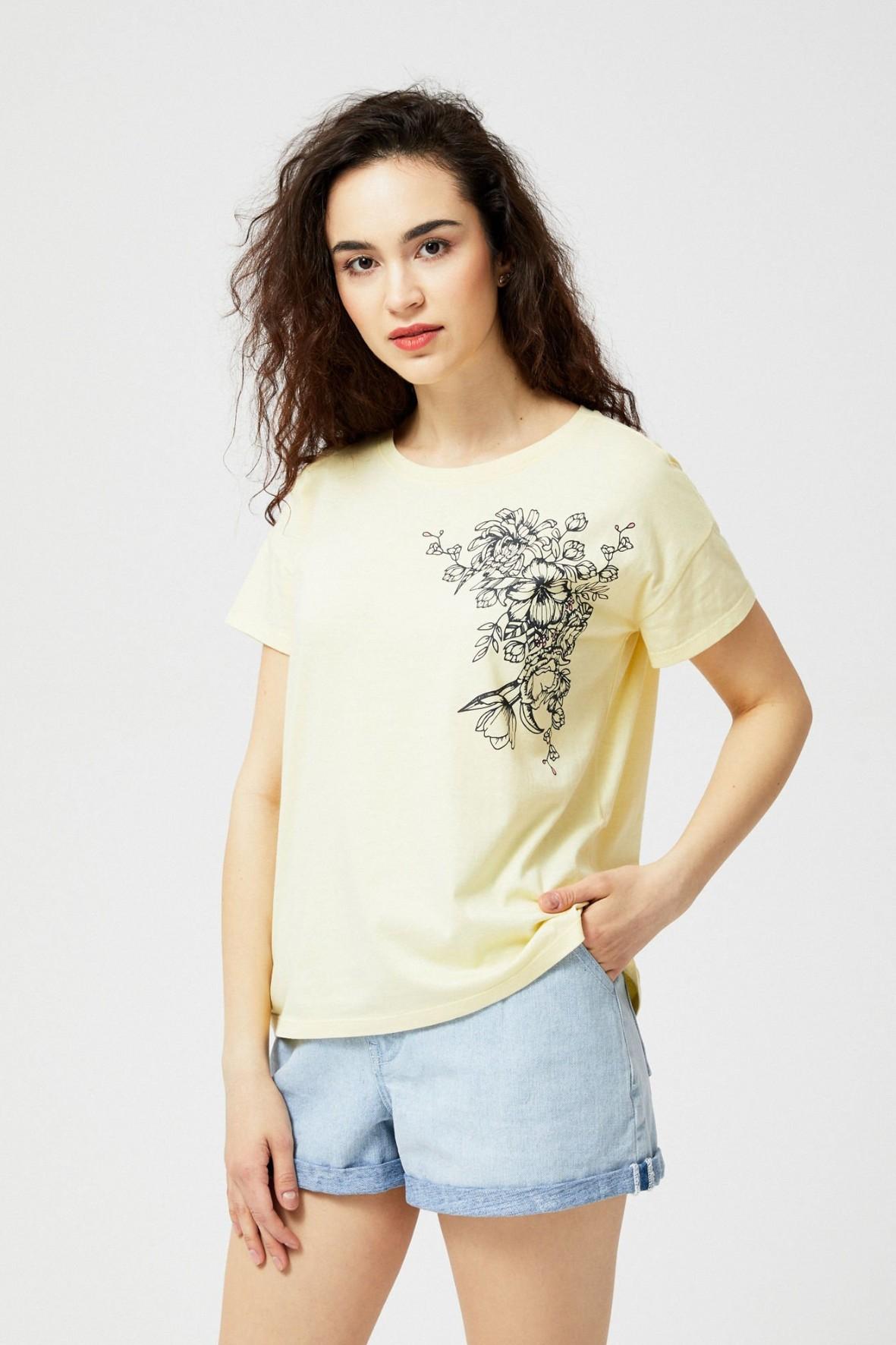 T-shirt damski bawełniany z kweisctym nadrukiem