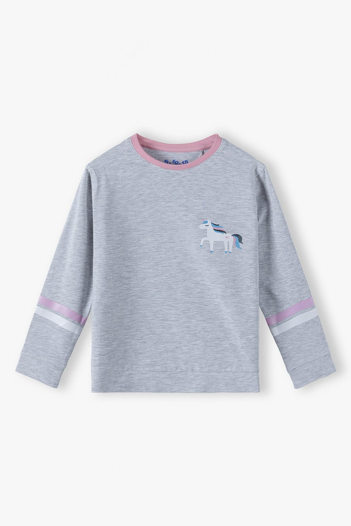 Bawełniana szara bluzka dziewczęca z jednorożcem