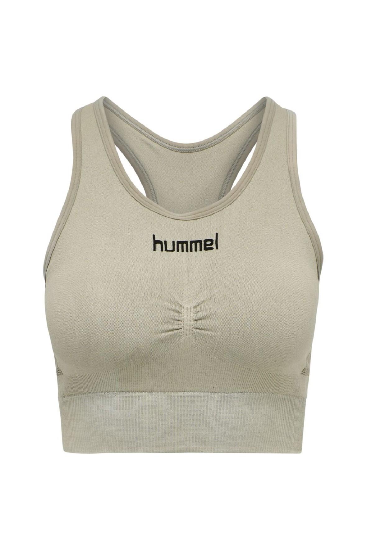 Damski biustonosz sportowy bezszwowy Hummel- oliwkowy