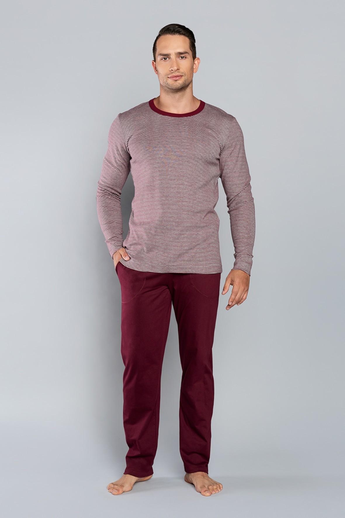 Piżama męska - długi rękaw i długie spodnie  - bordowa