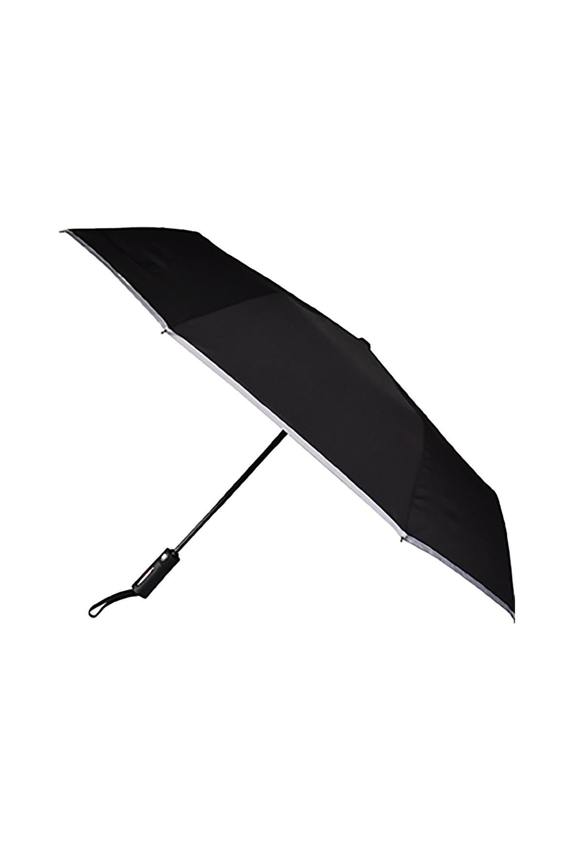 Parasol automatyczny krótki czarny z paskiem
