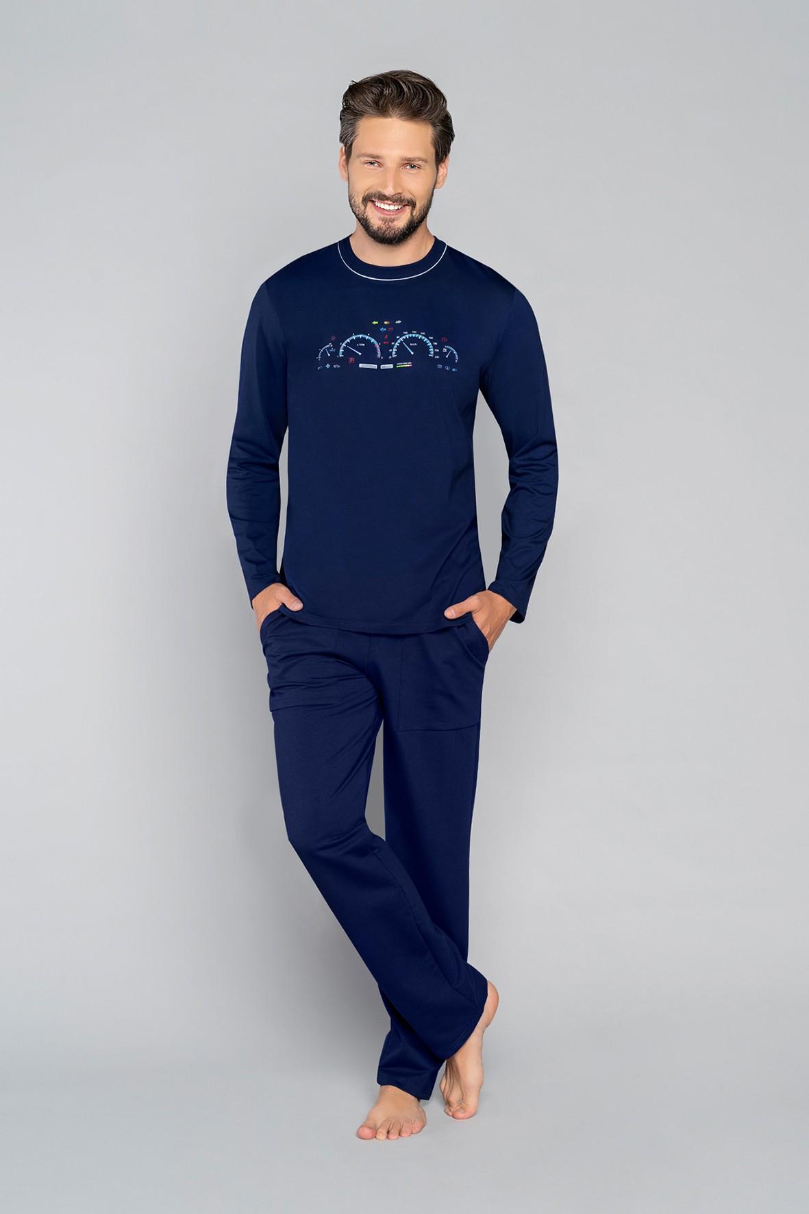 Bawełniana piżama męska z długim rękawem - granatowa