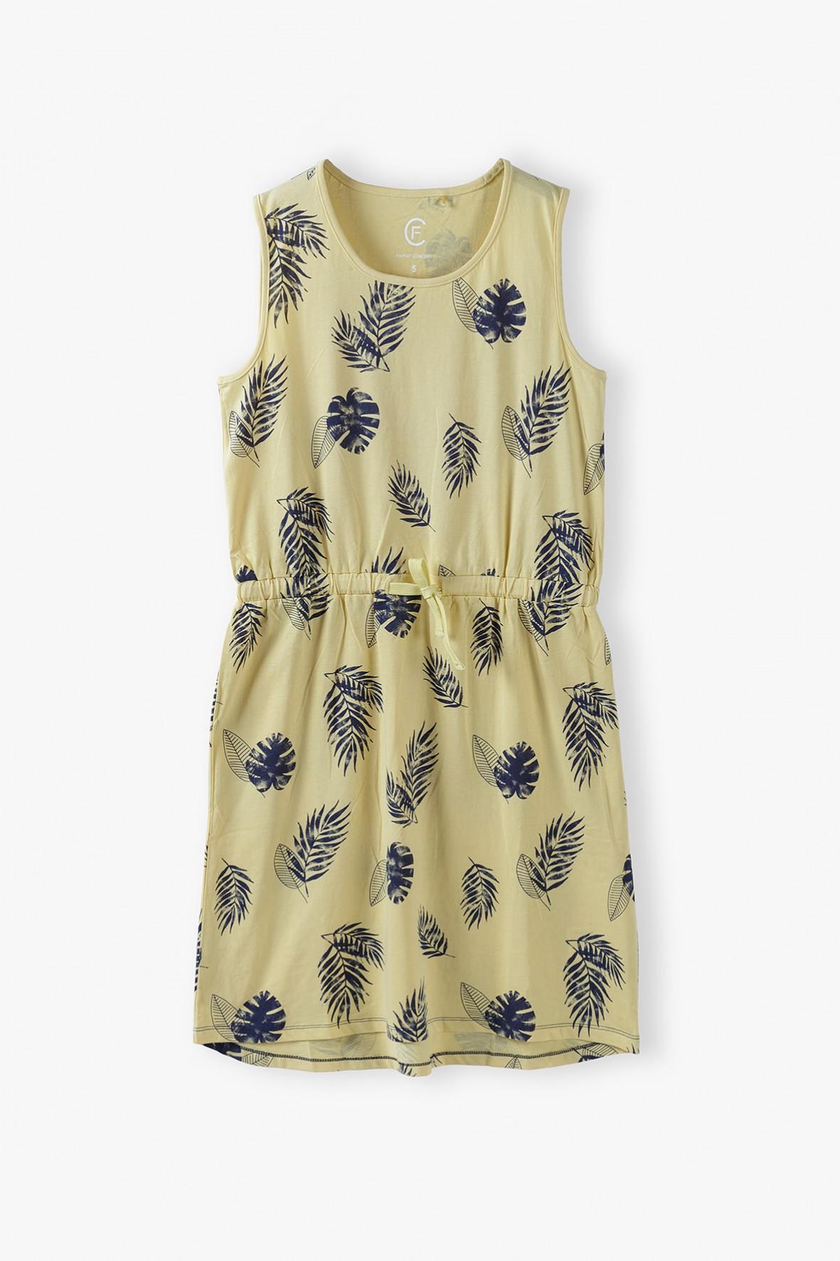 Bawełniana żółtka sukienka damska w liście- ubrania dla całej rodziny
