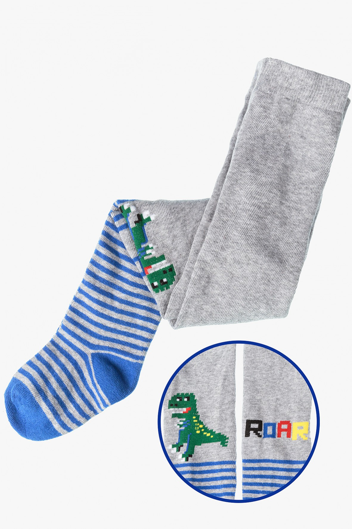 Rajstopy dla chłopca- szare w paski z dinozaurem
