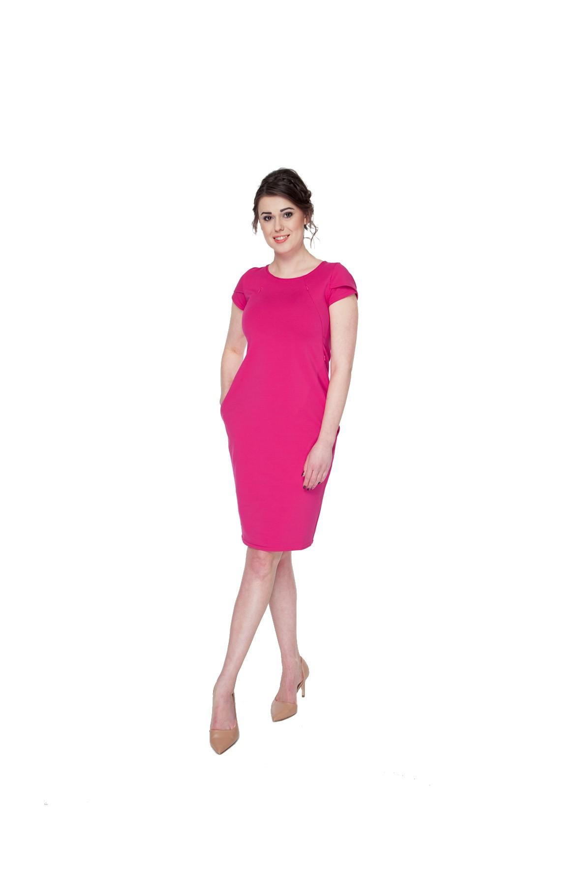 Sukienka dla kobiety w ciąży Milky Way krótki rękaw-różowa