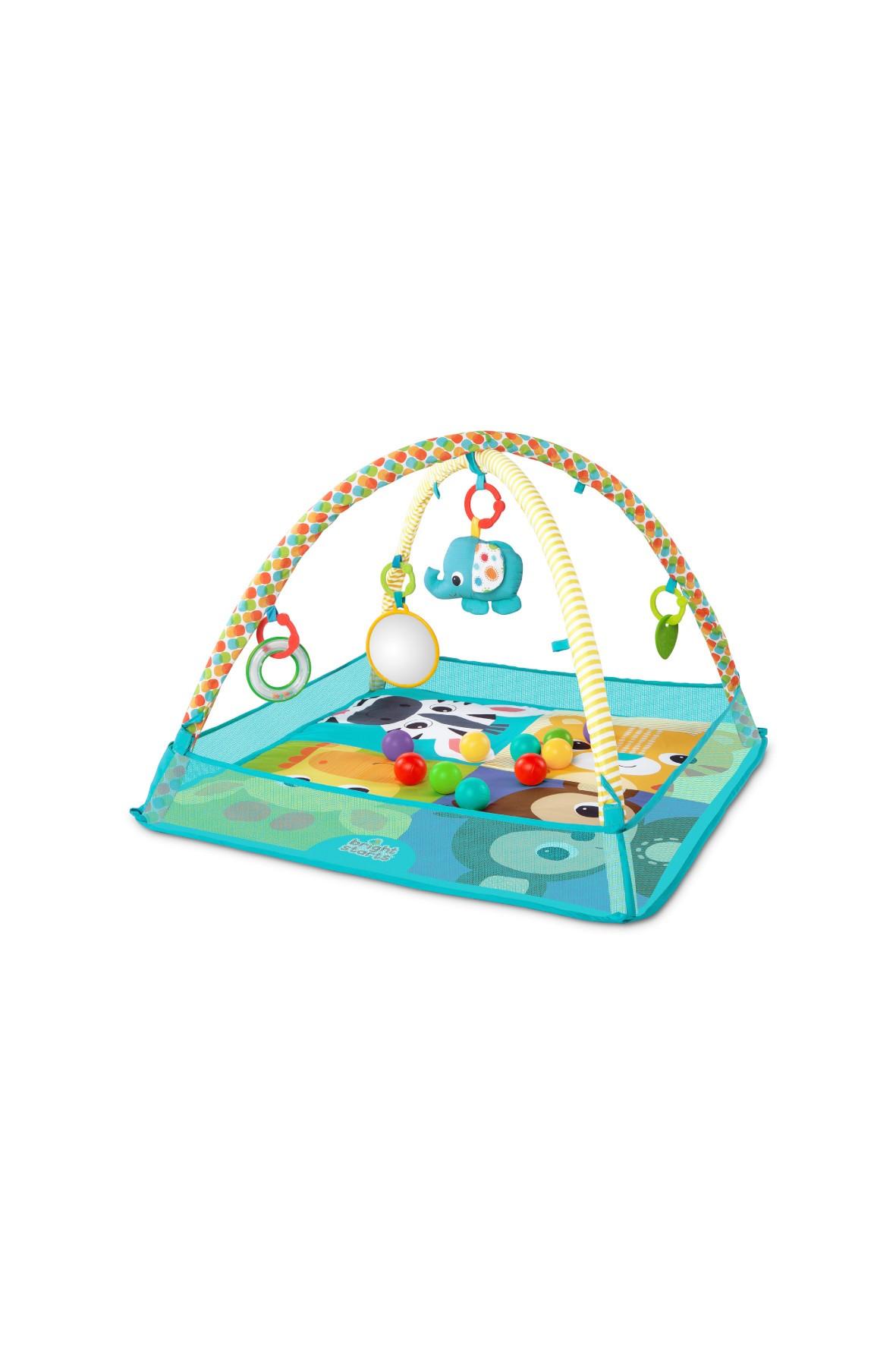 Mata edukacyjna dla niemowlaka z piłeczkami-przyjaciele Słonika
