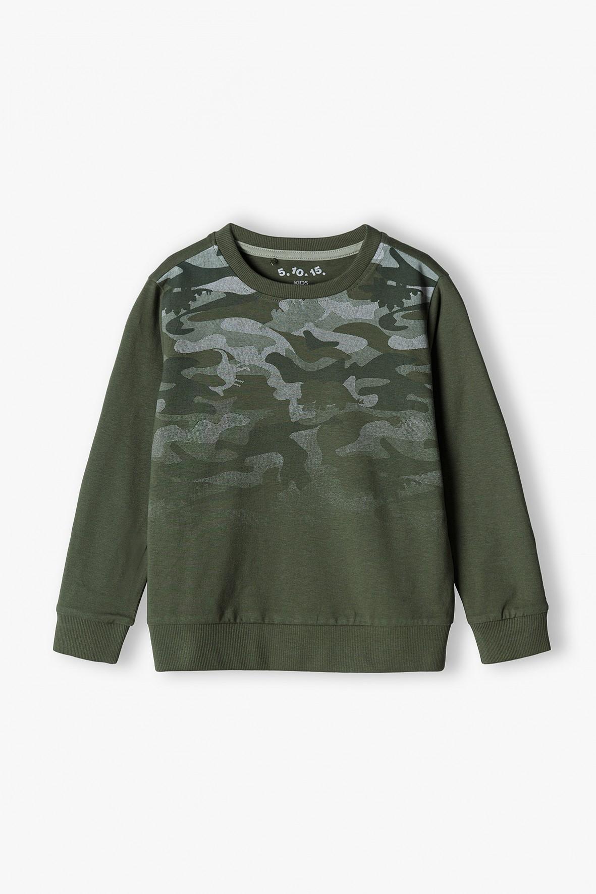 Bawełniana bluzka chłopięca z długim rękawem- khaki i moro