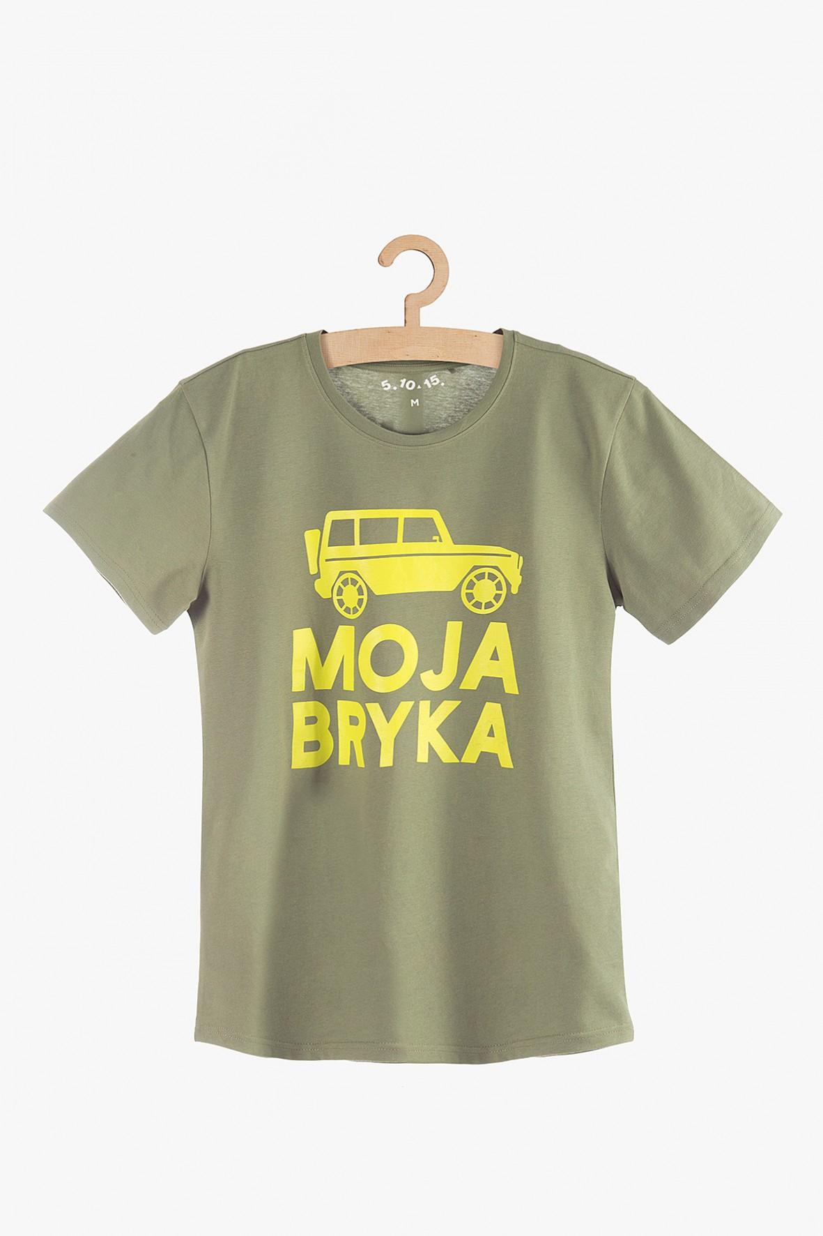 """T-shirt bawełniany męski zielony z napisem """"Moja bryka"""""""