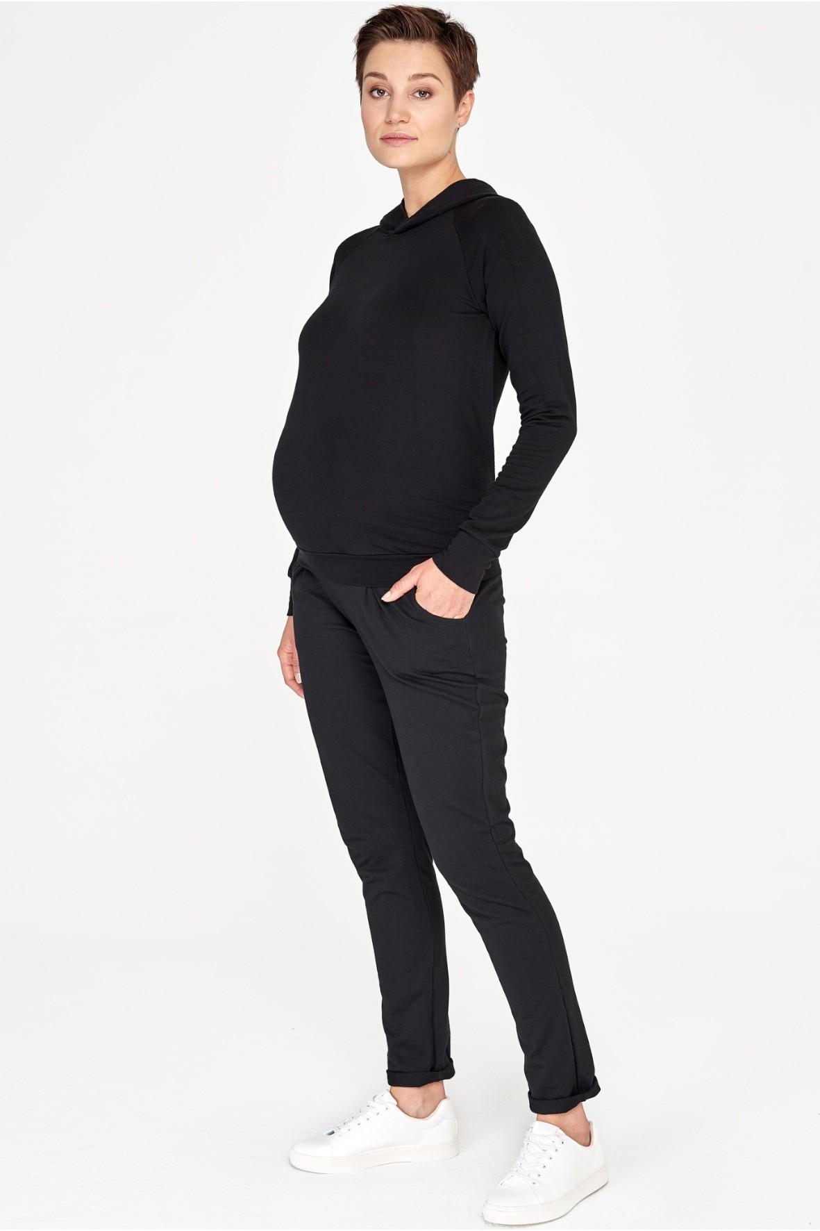 Bluza z kapturem ciążowa i do karmienia czarna
