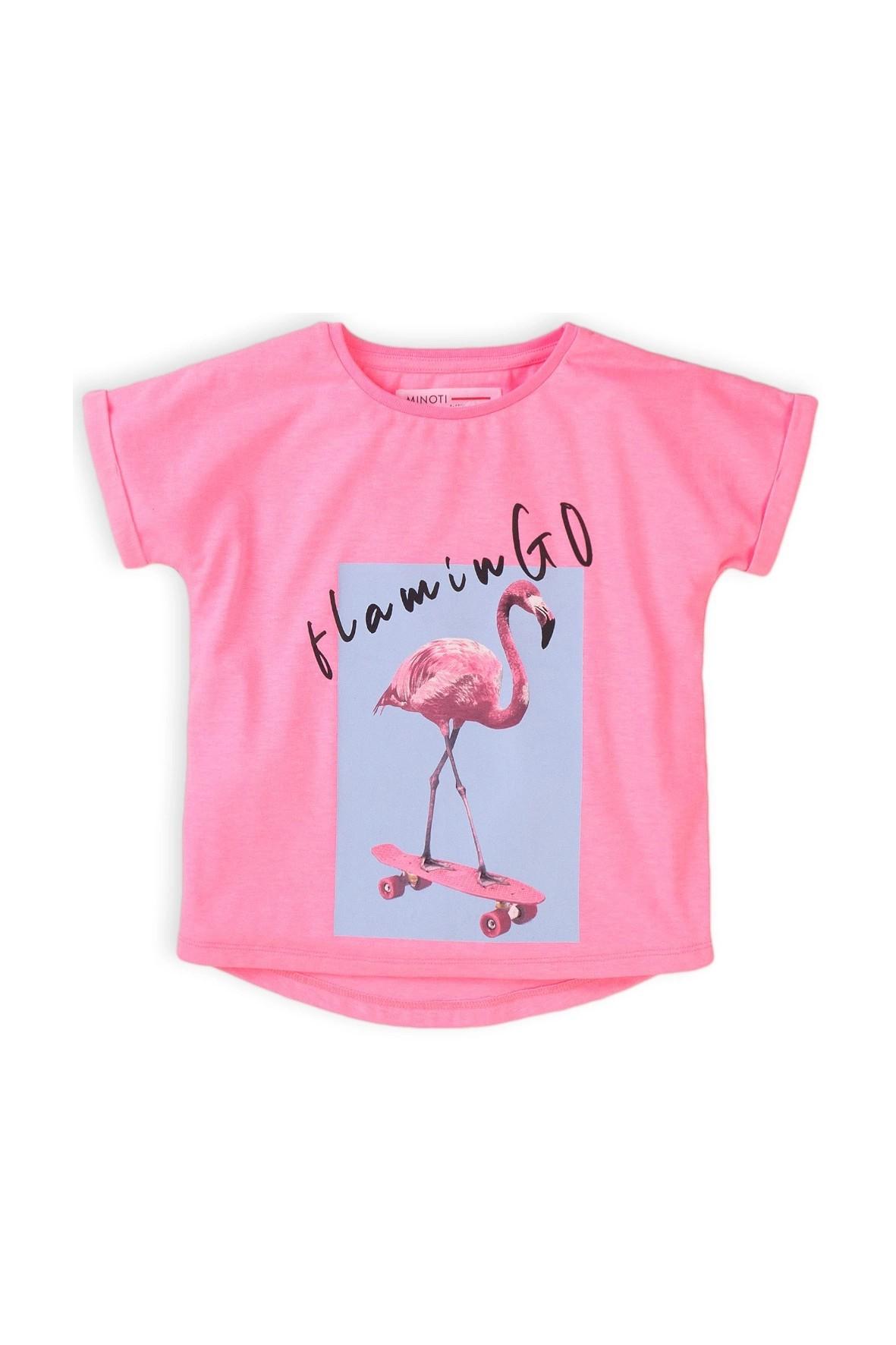 T-dziewczęcy różowy z flamingiem