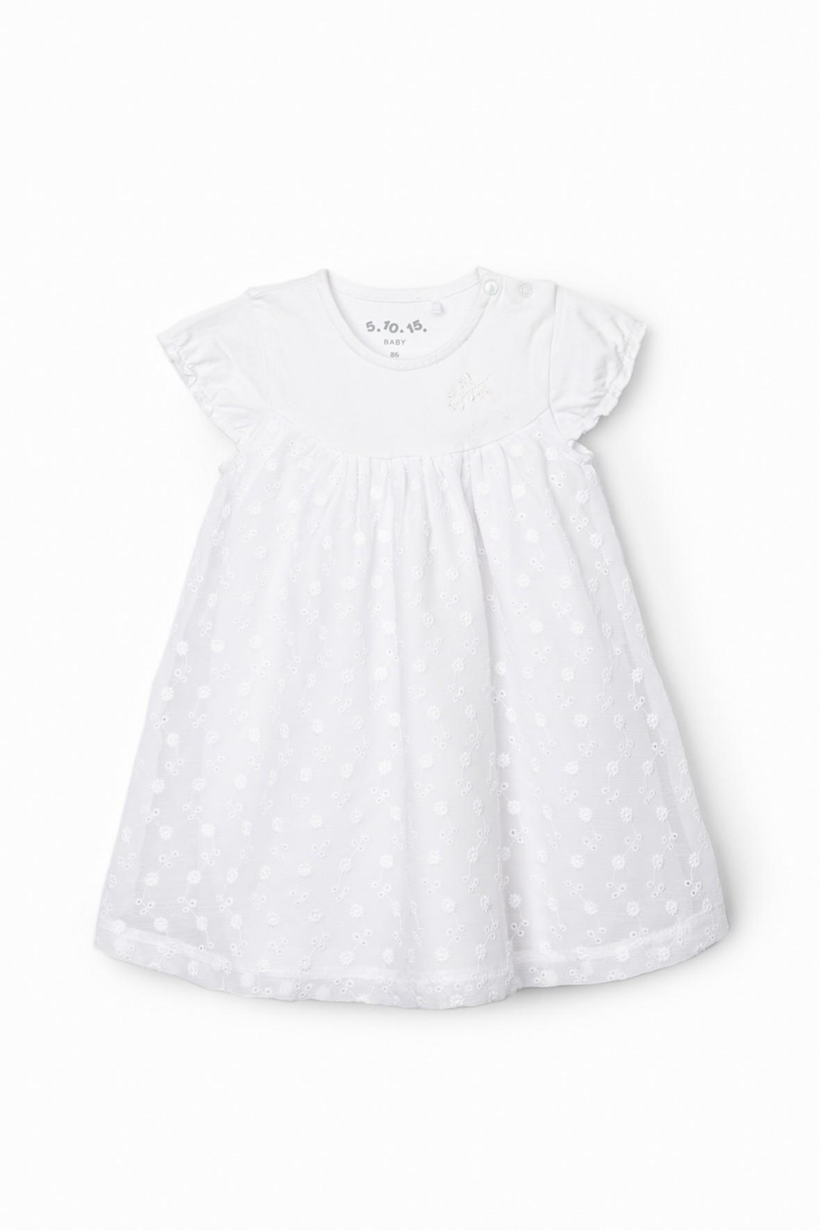 Sukienka niemowlęca w drobne kwiatki - biała