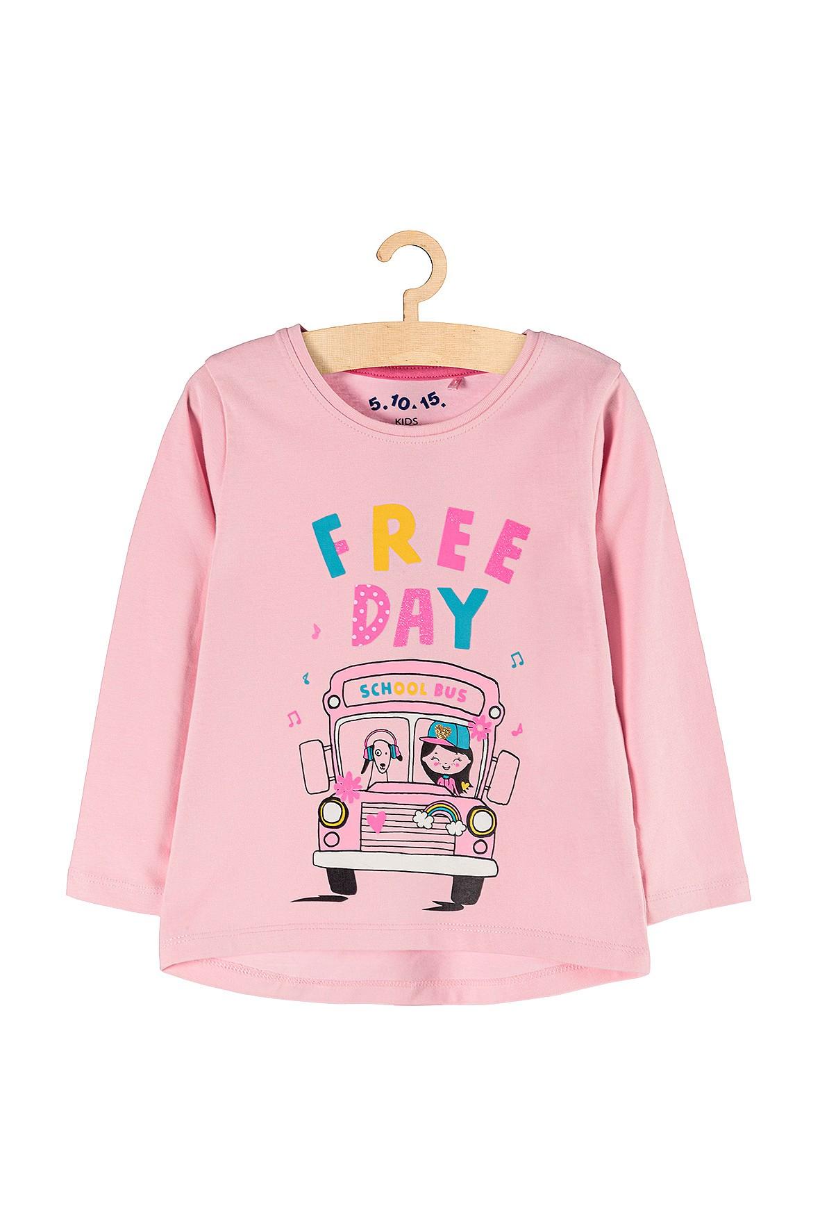 Bluzka dziewczęca z długim rękawem- różowa School Bus