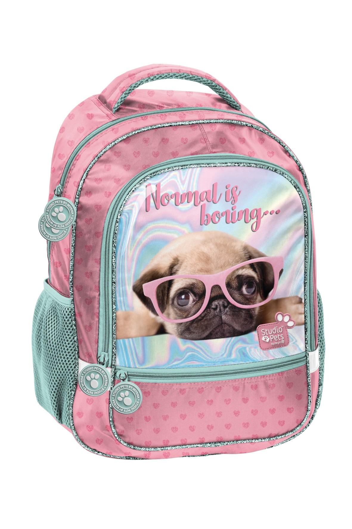 Plecak szkolny dwukomorowy miętowo-różowy z pieskiem
