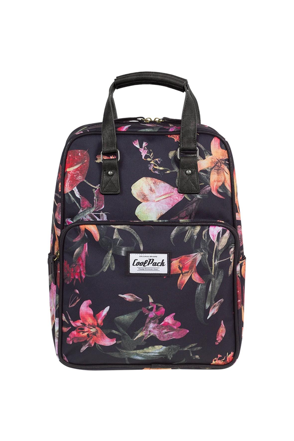 Plecak młodzieżowy Cubic granatowy w kwiaty