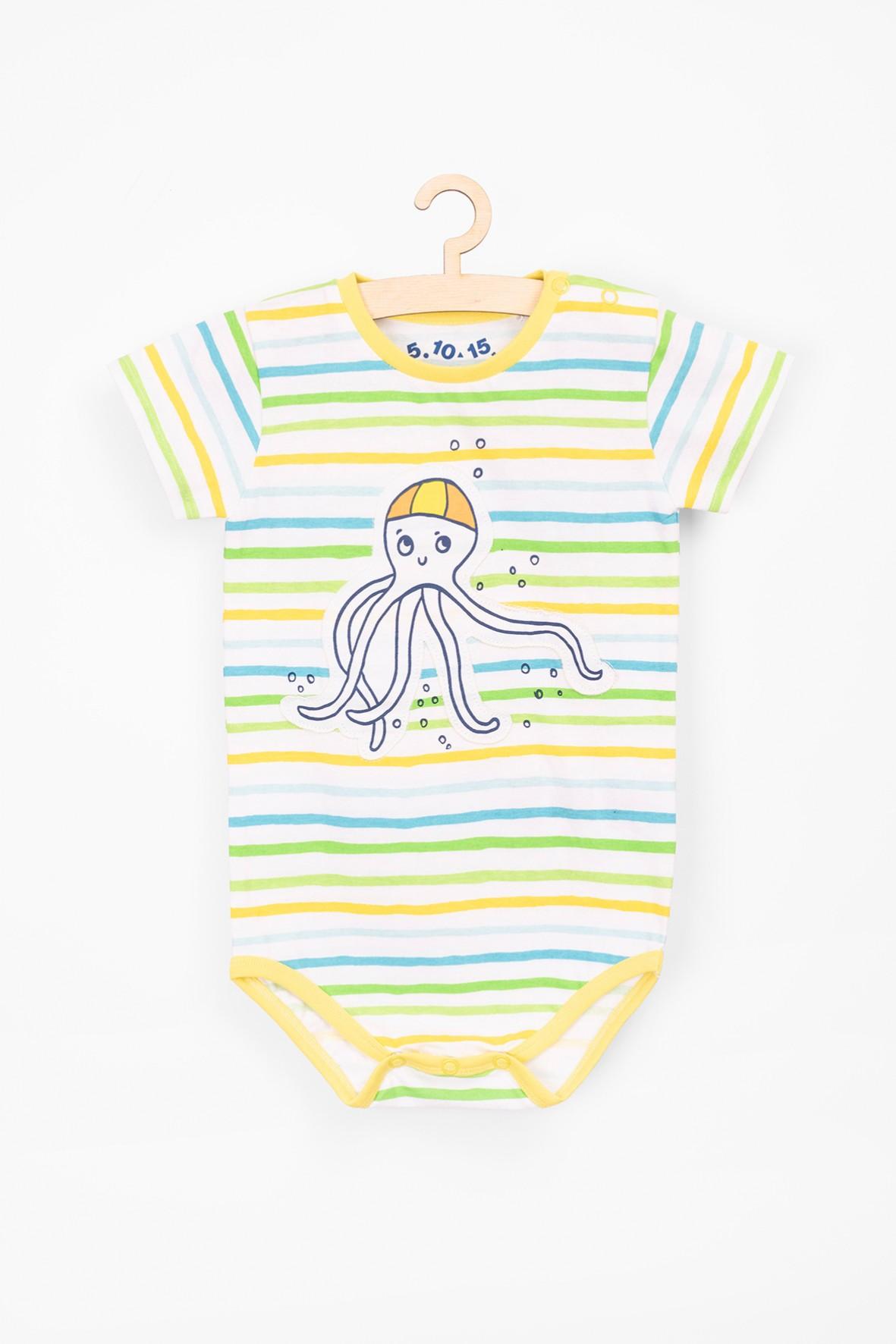 Body niemowlęce w kolorowe paski z ośmiornicą