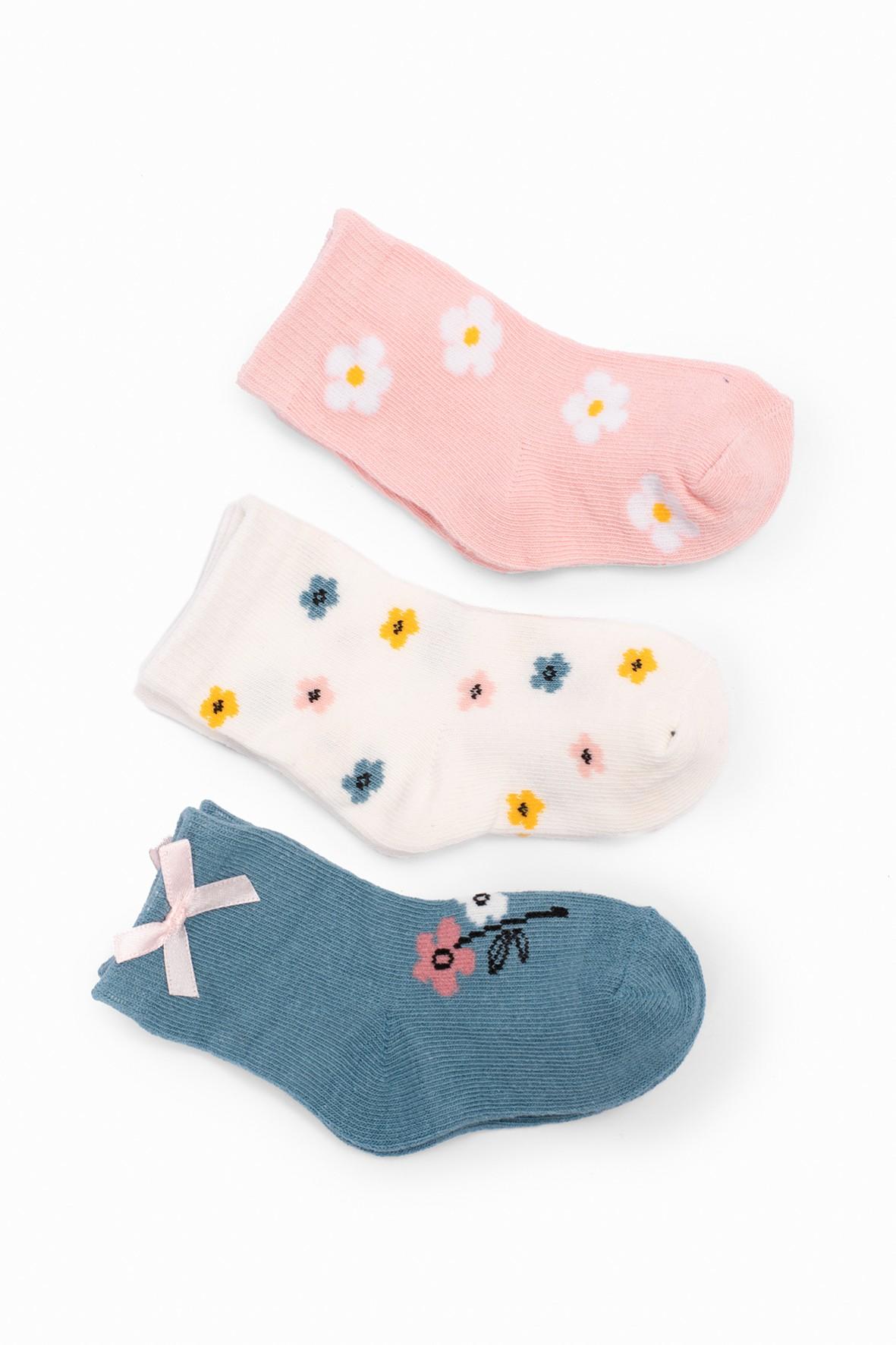 Skarpetki niemowlęce w kwiatki 3pak