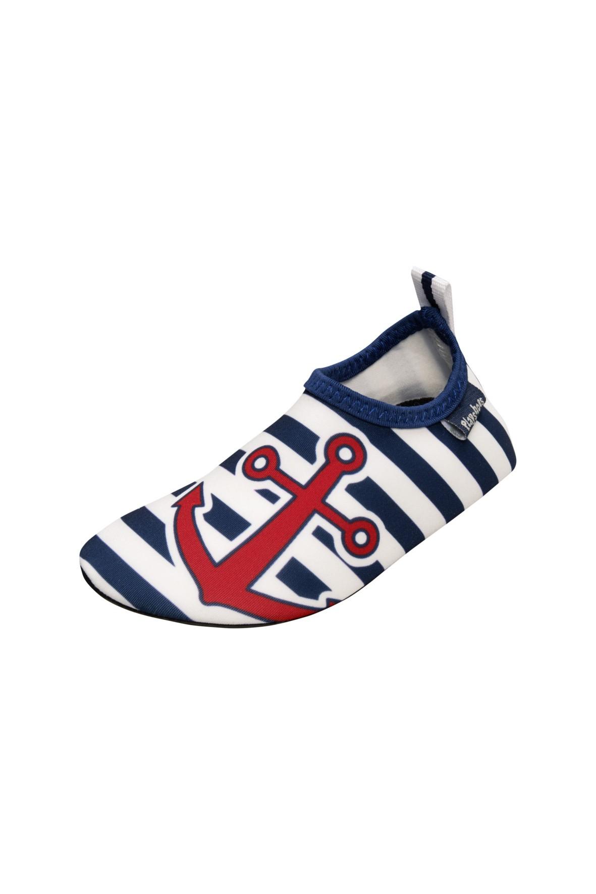 Buty kąpielowe- biało granatowe paski