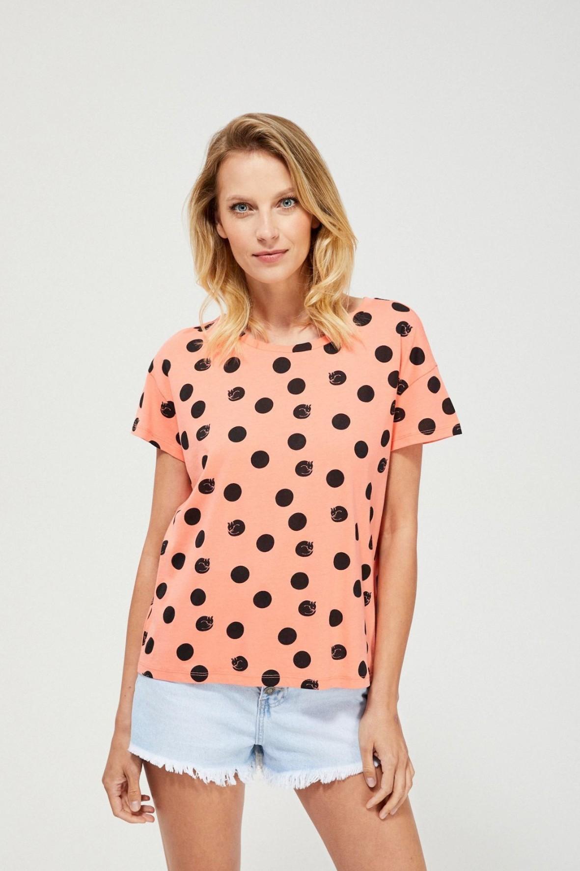 Bawełniany pomarańczowy  t-shirt damski na krótki rękaw w czarne kropki