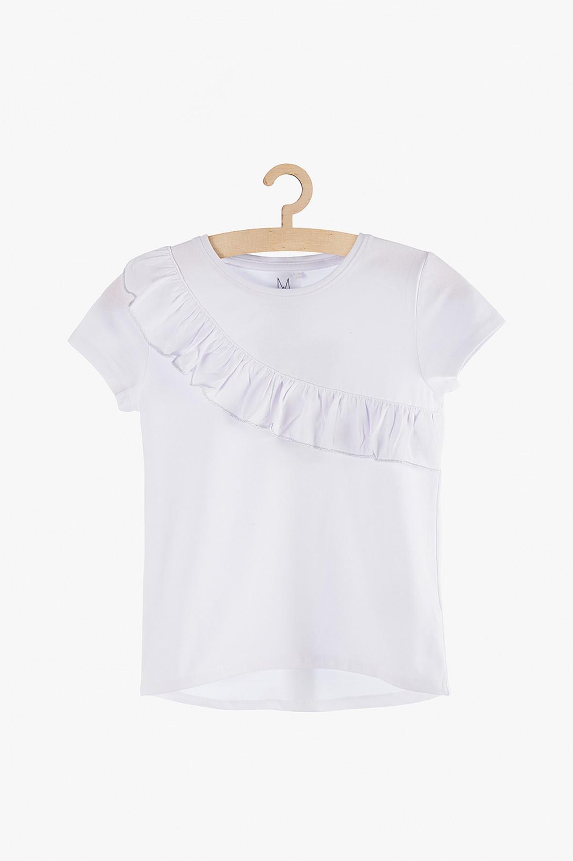 Bluzka z krótkim rękawem- biała z falbaną
