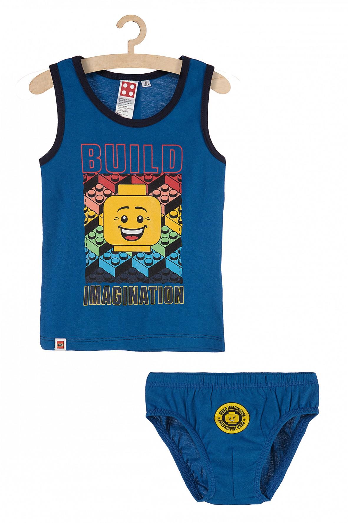 Chłopięcy komplet bieliźniany majtki i koszulka na ramiączkach Lego