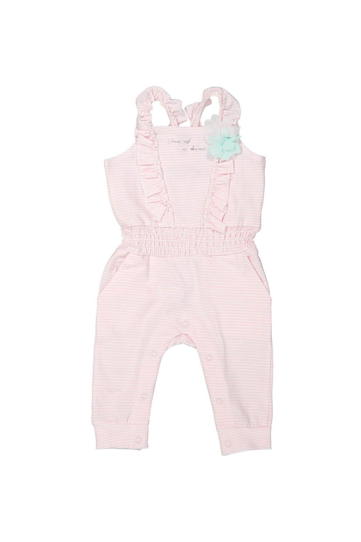 Kombinezon dla niemowlaka na lato- różowo białe paski