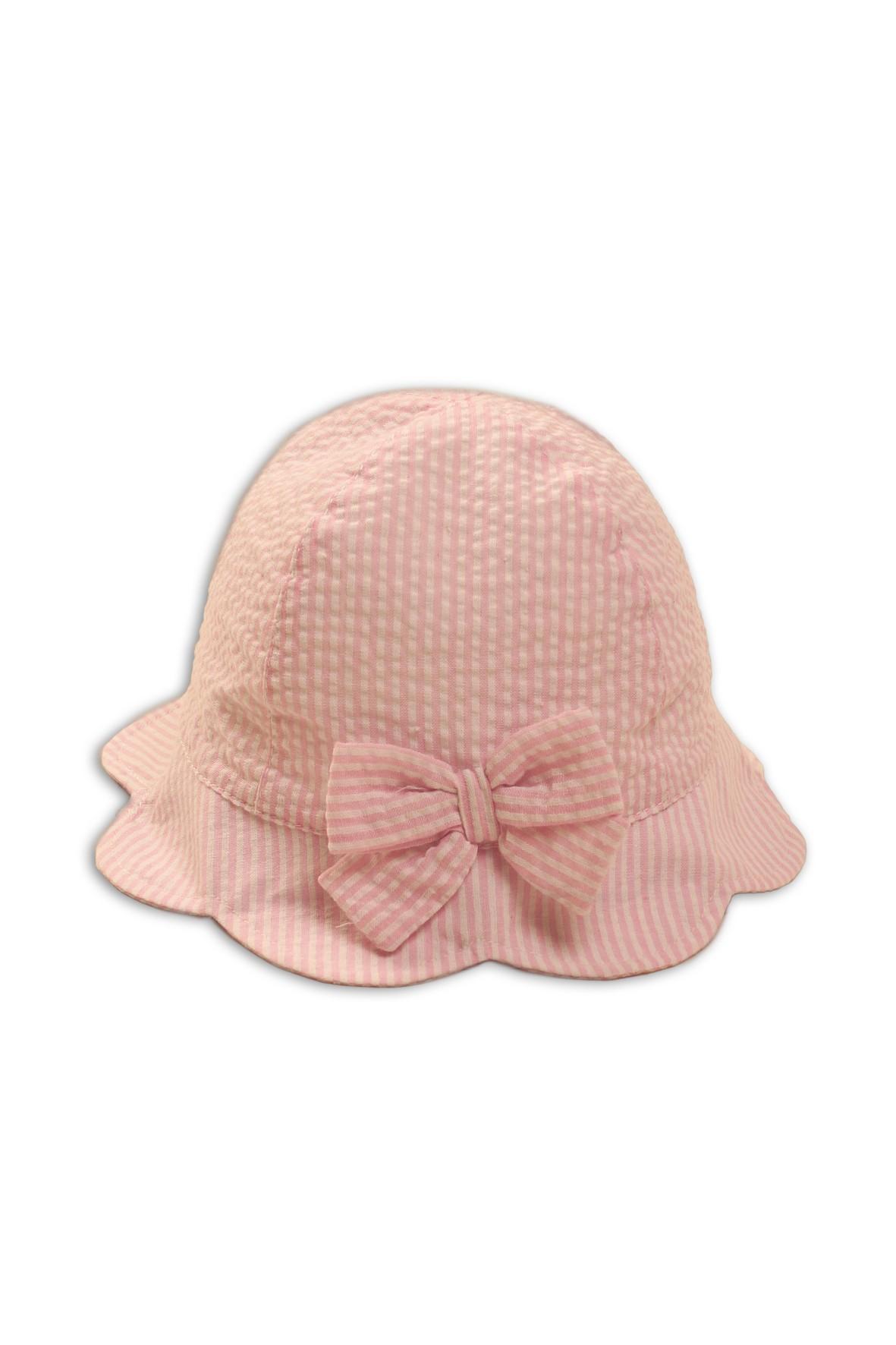 Kapelusz niemowlęcy na lato-różowy w paski rozm. 50
