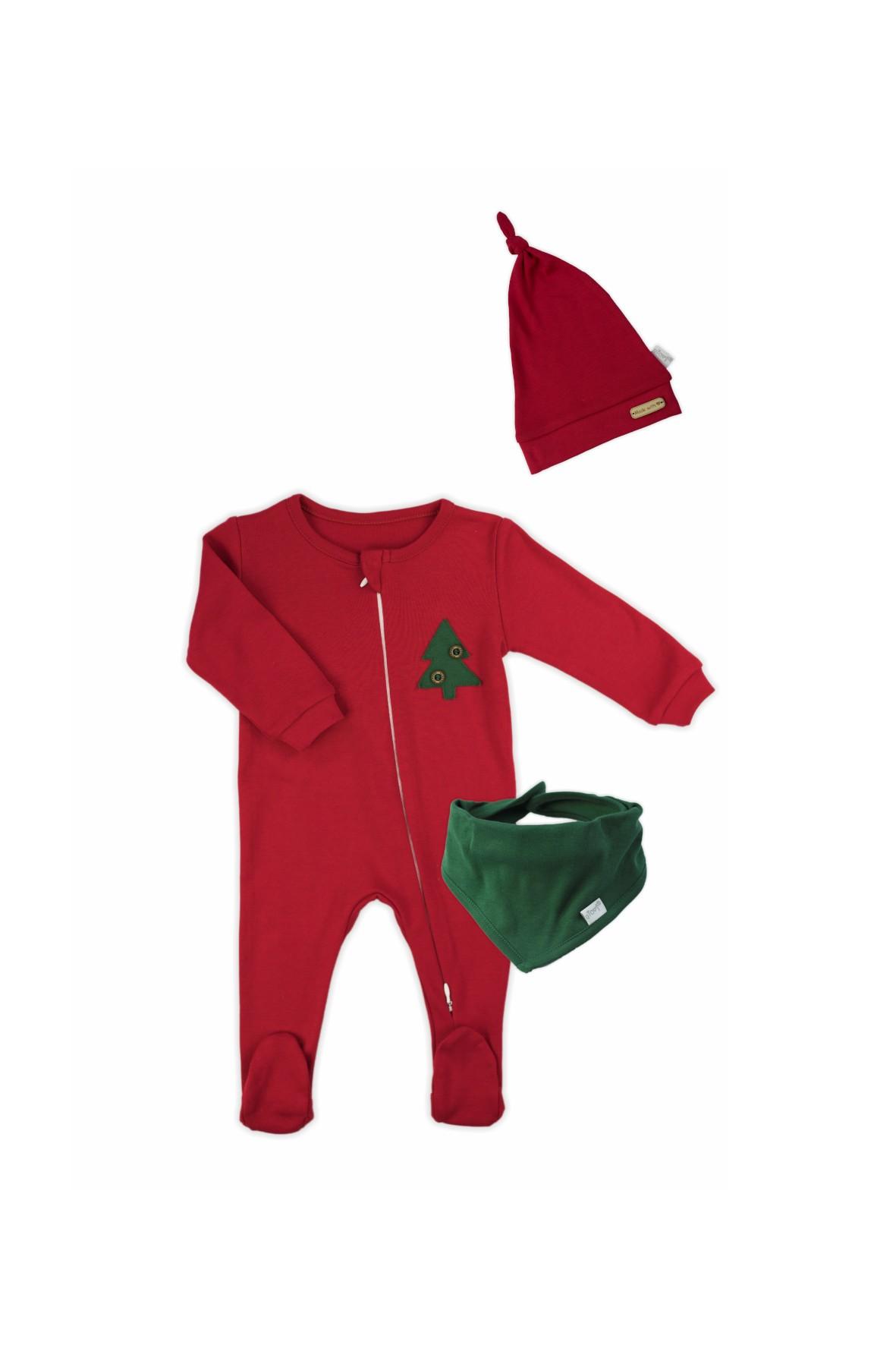 Komplet świąteczny niemowlęcy  czapka, apaszka, pajac