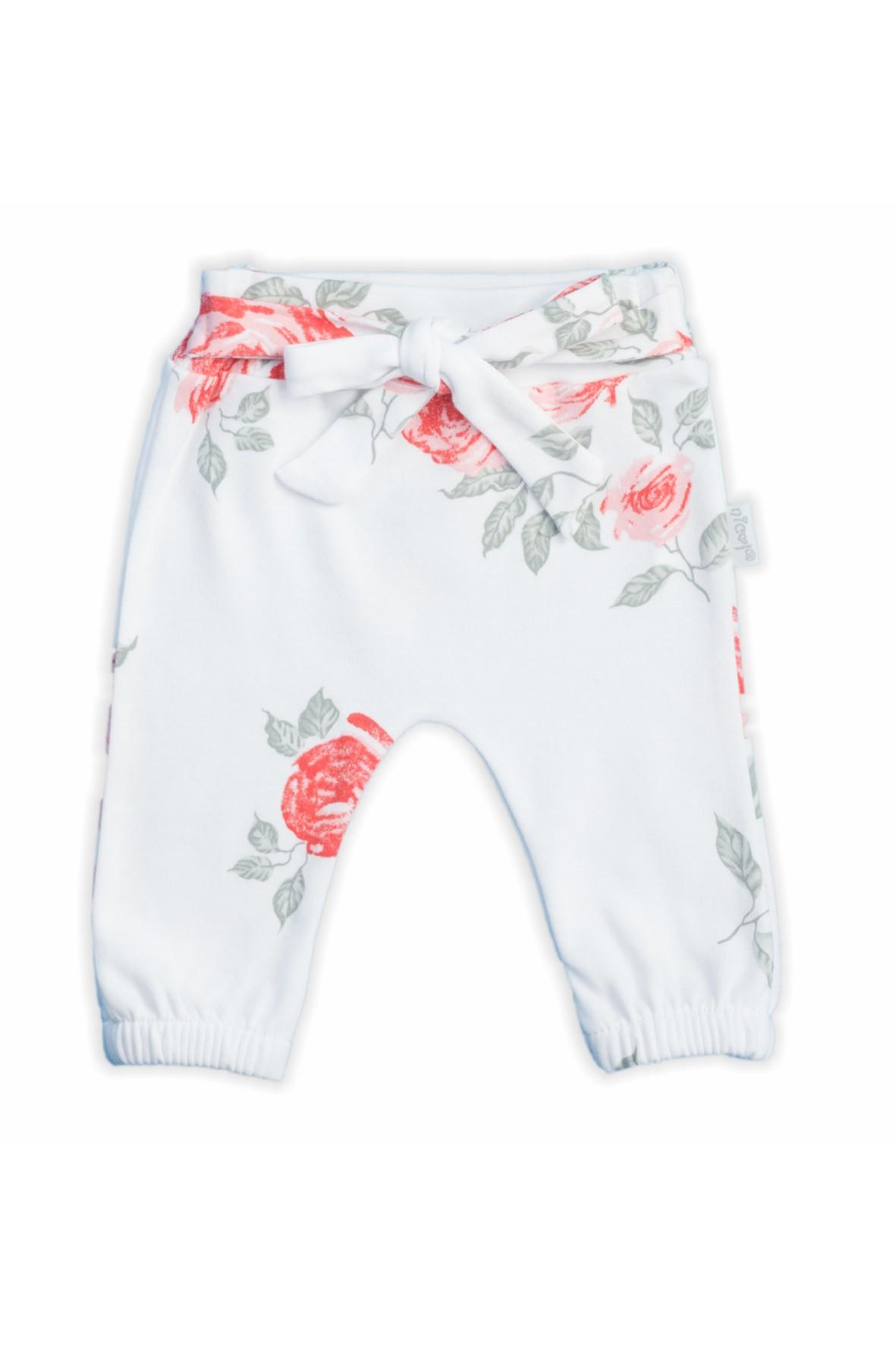 Bawełniane spodnie dziewczęce z kolekcji Róża w kwiaty