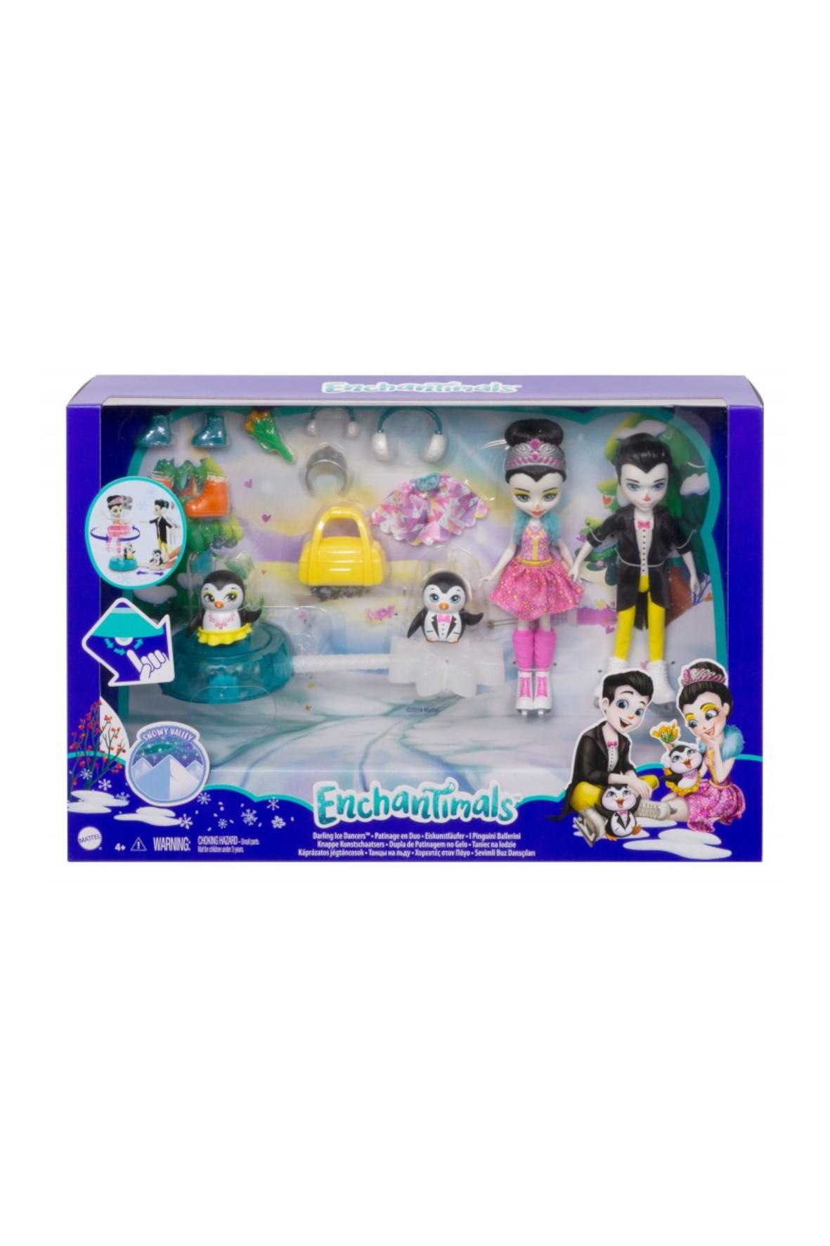 Taniec na lodzie + Lalki Patterson i Preena Penguin, zwierzątka i akcesoria Enchantimals wiek 4+