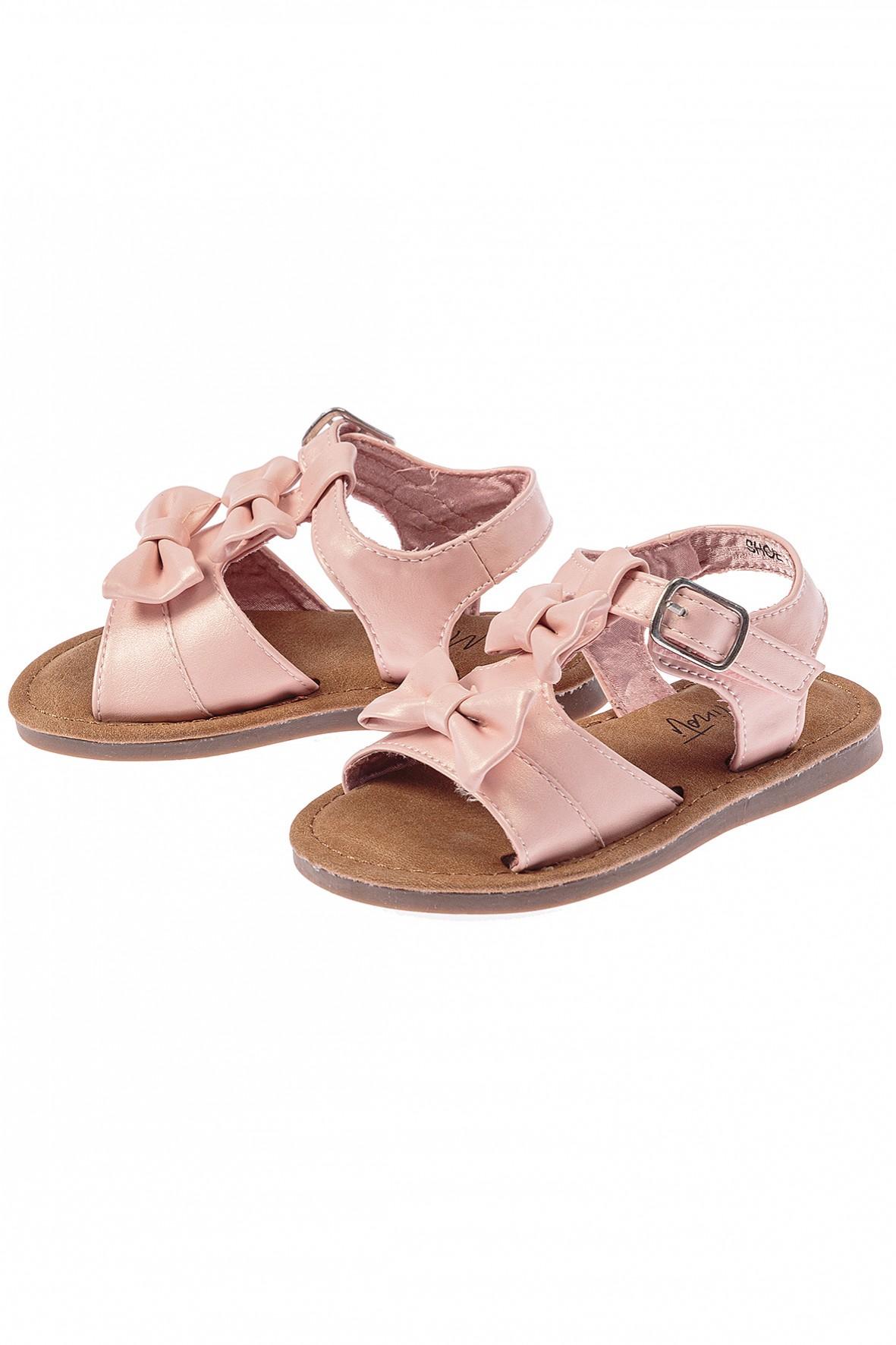 Sandały dziewczęce z kokardkami-różowe