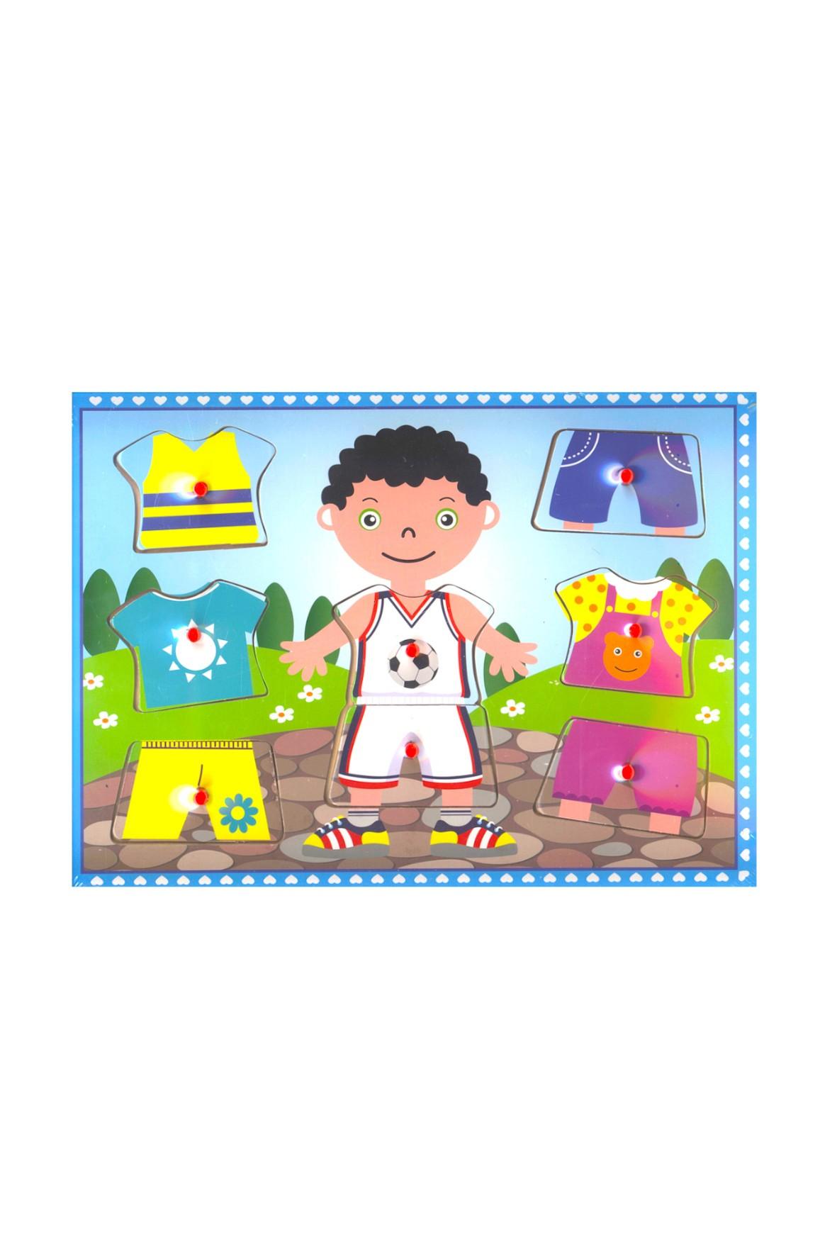 Układanka drewniana ubranka dla chłopca 30cm x 22,5cm