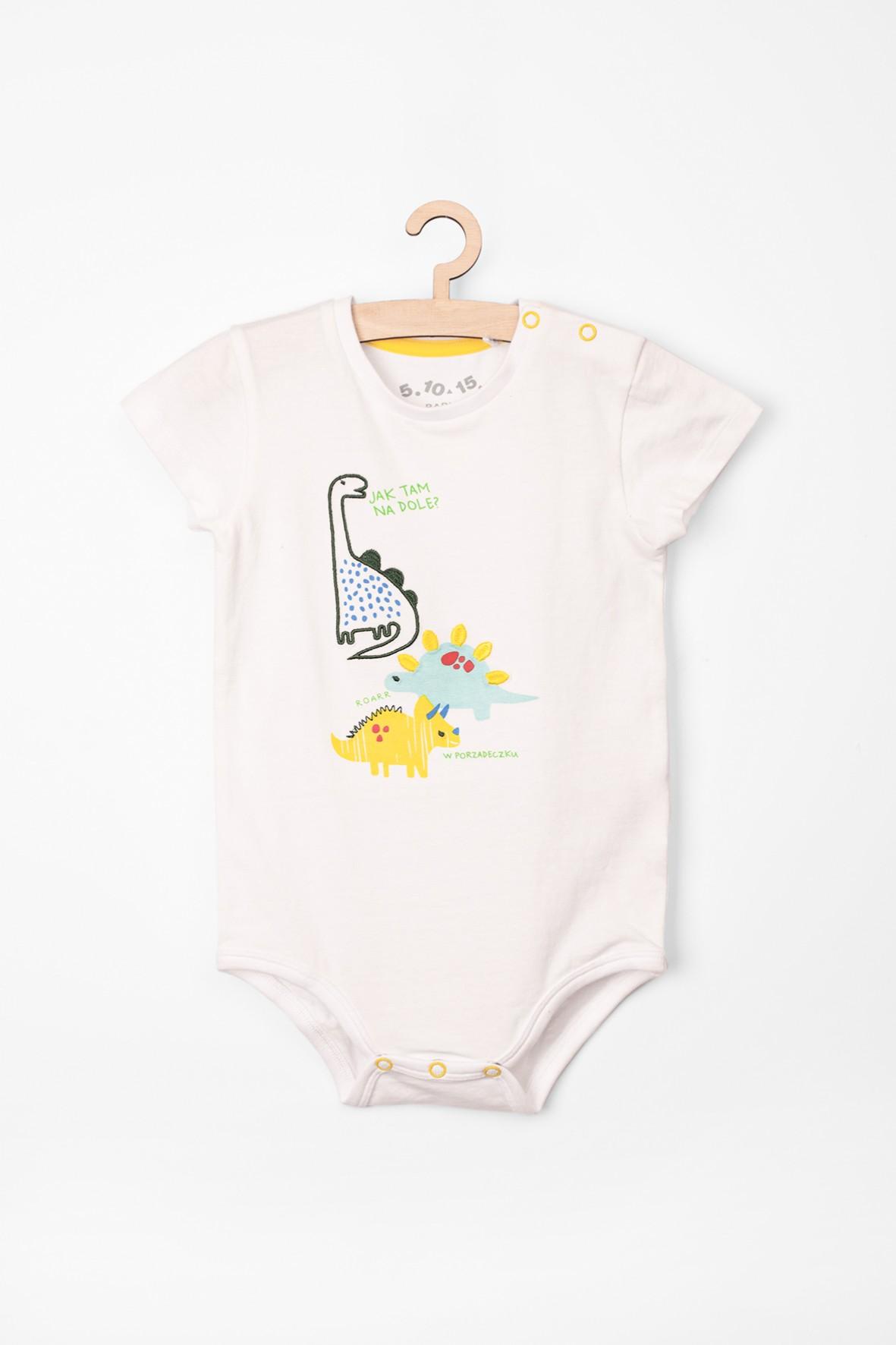 Body niemowlęce białe z dinozaurami