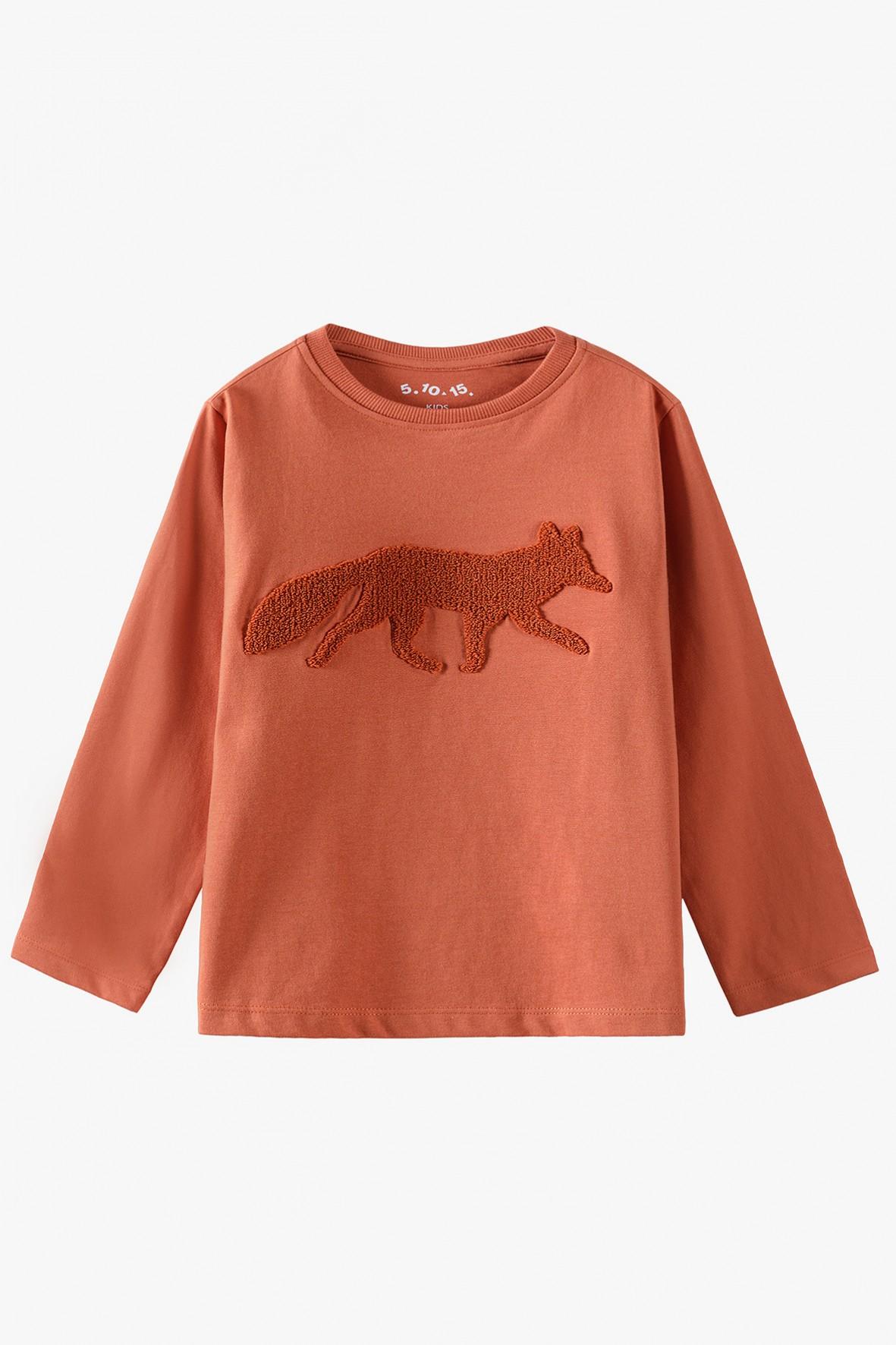 Bluzka chłopięca pomarańczowa z lisem - długim rękawem