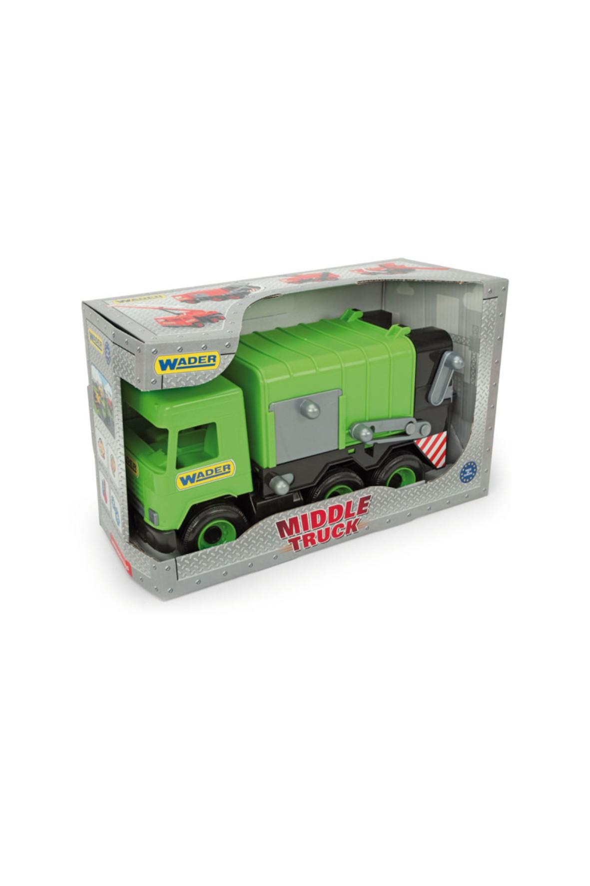 Samochód śmieciarka zielona