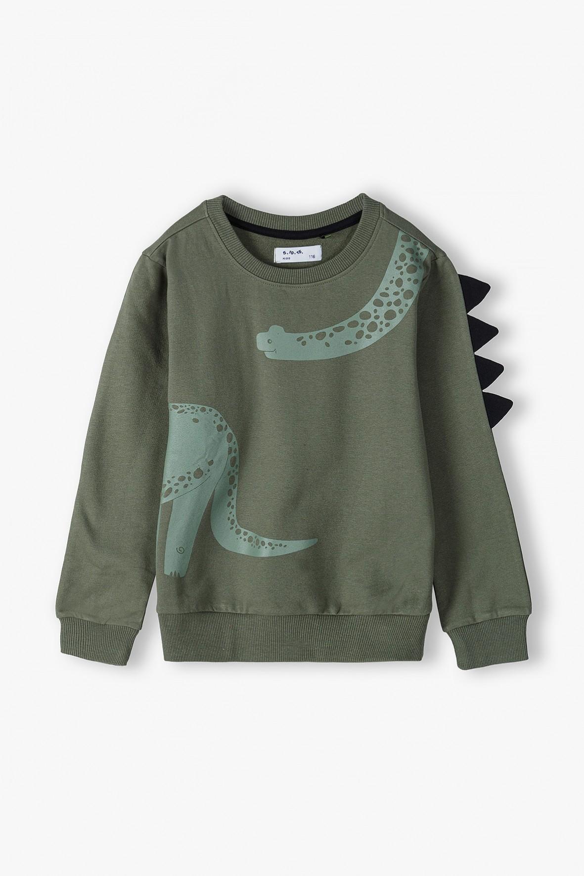 Bawełniana bluza chłopięca z elementem 3D- Dino