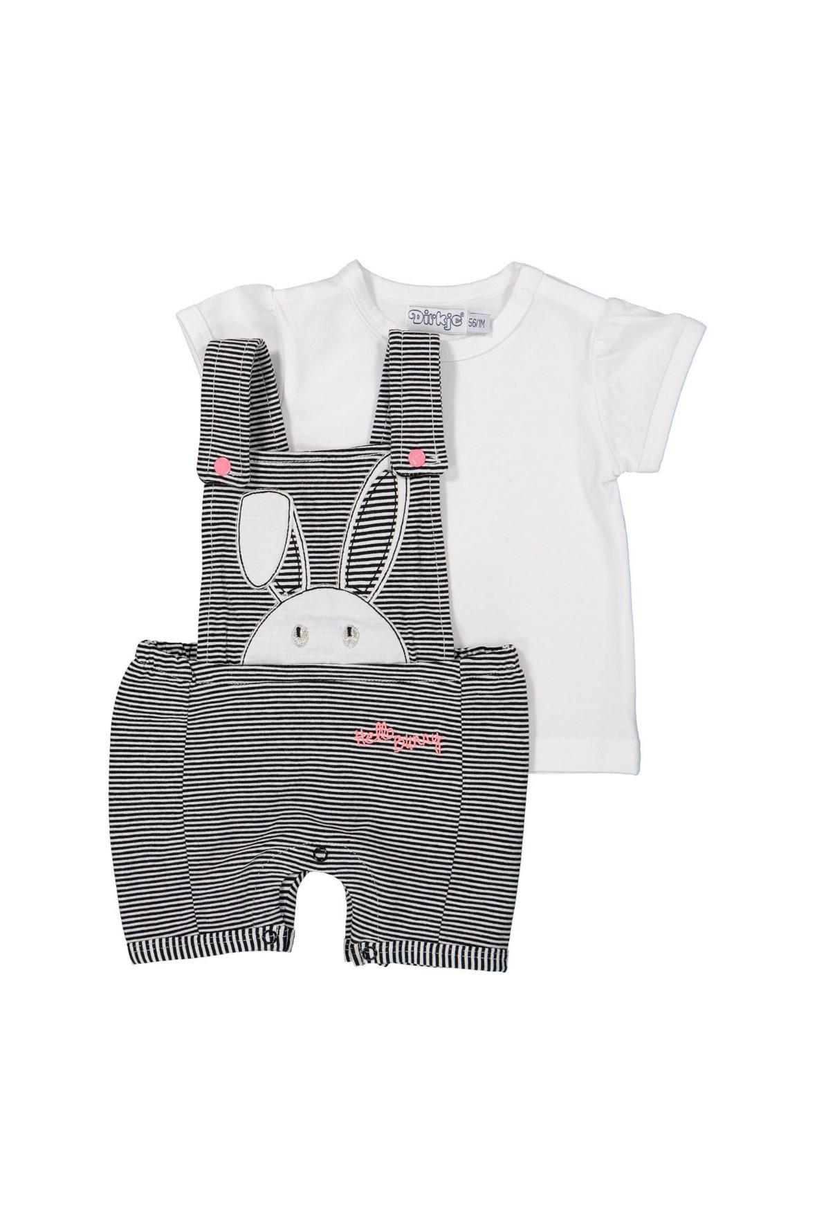 Komplet niemowlęcy t-shirt i ogrodniczki z królikiem