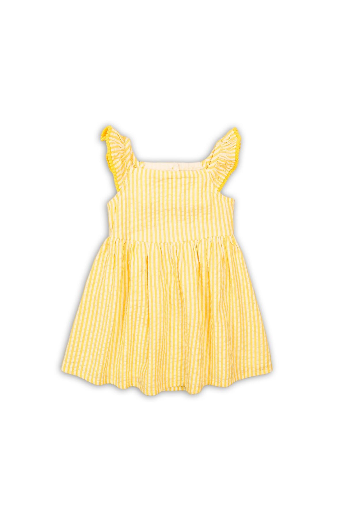 Sukienka żółta w białe paski z ozdobnym rękawem