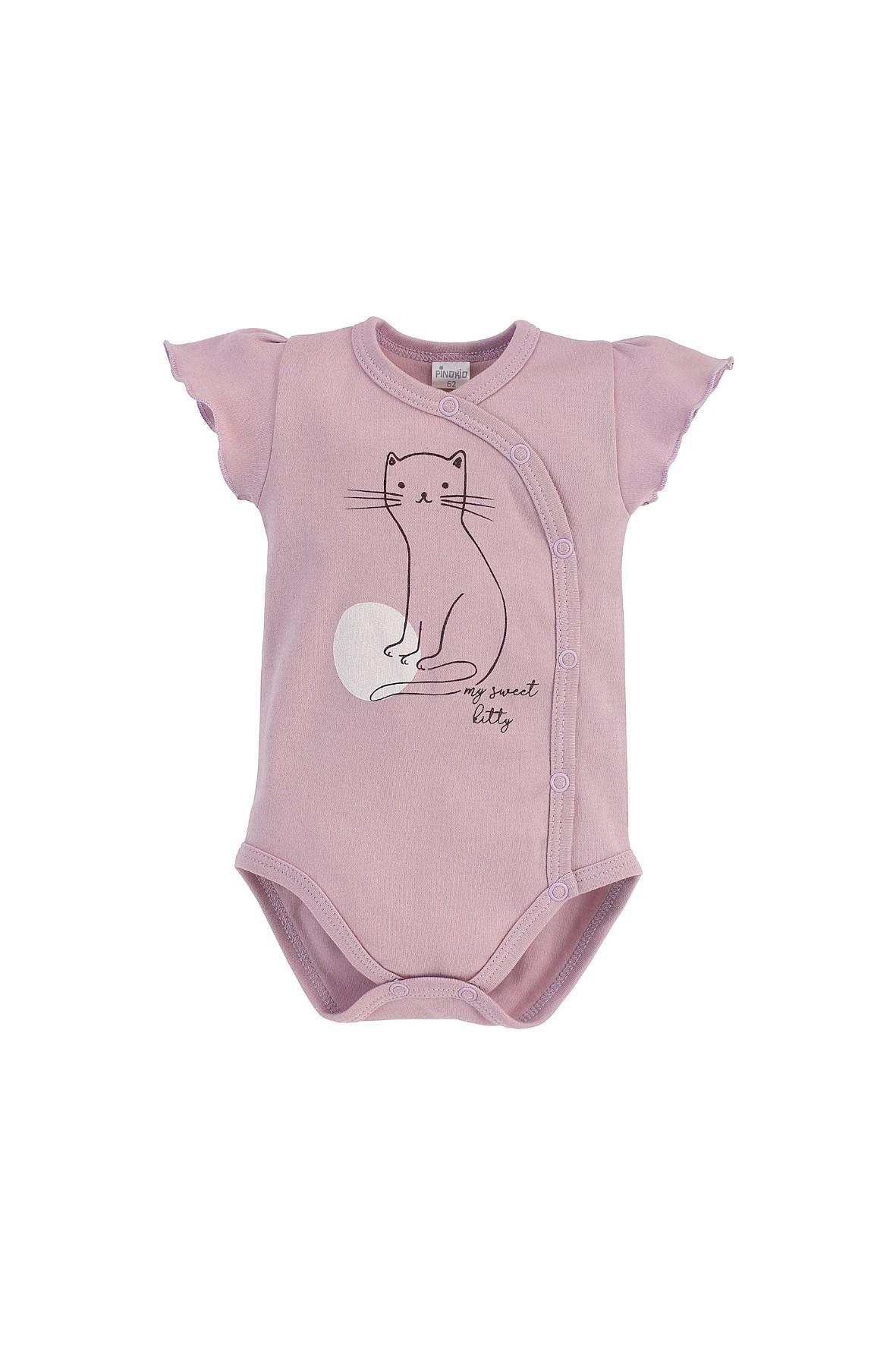 Kopertowe bawełniane różowe body niemowlęce z krótkim rękawem
